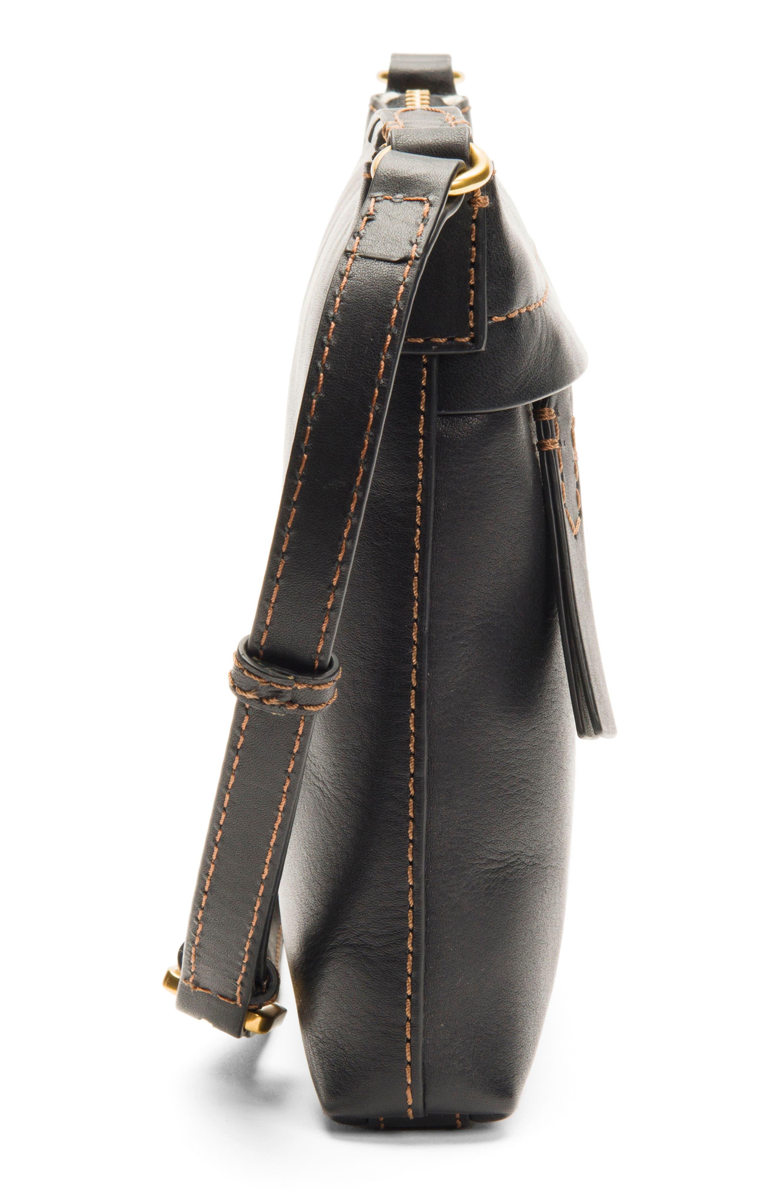 Carson Leather Crossbody Bag,                             Alternate thumbnail 4, color,                             BLACK