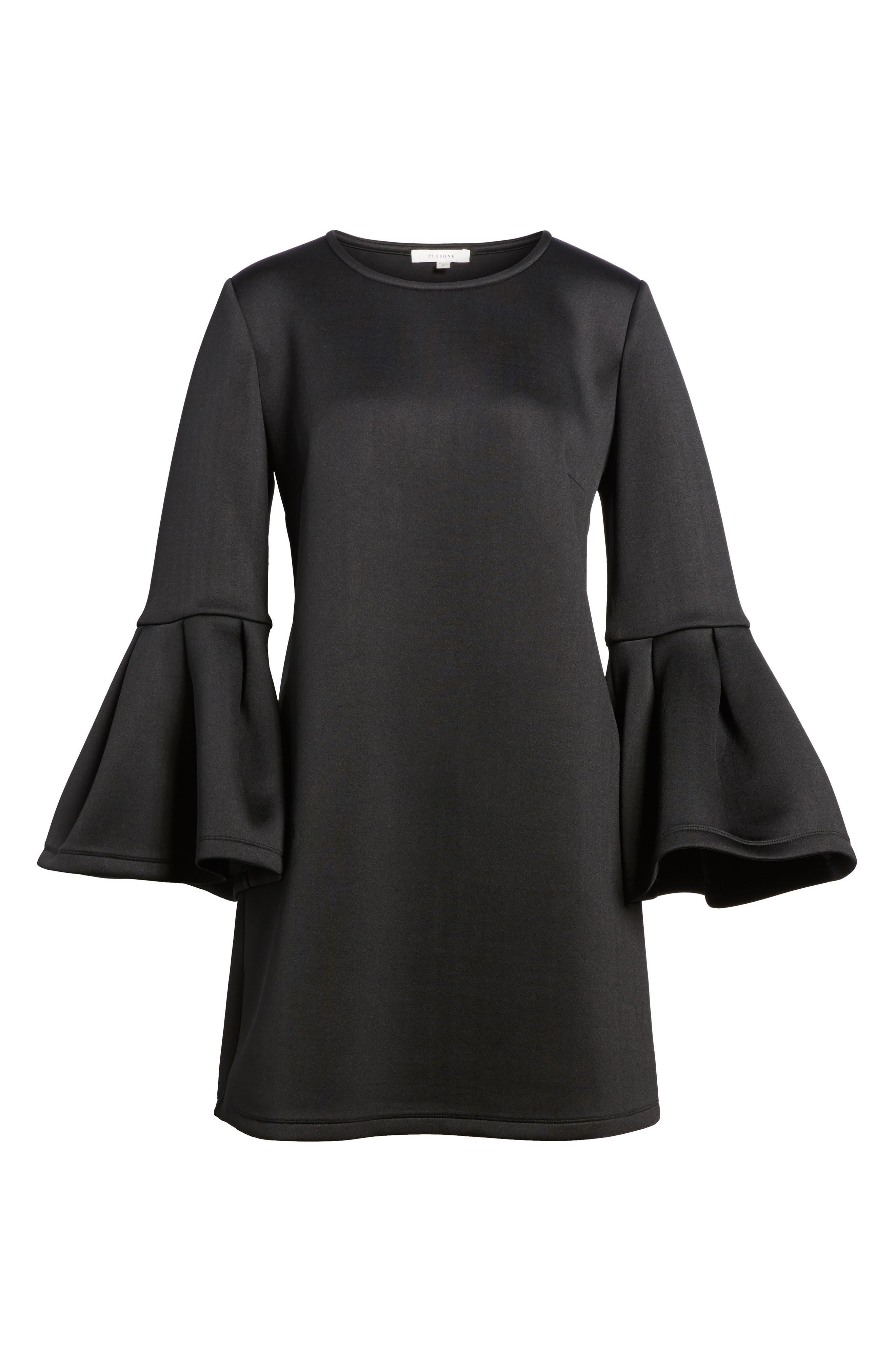 Bell Sleeve A-Line Dress,                             Alternate thumbnail 6, color,                             001