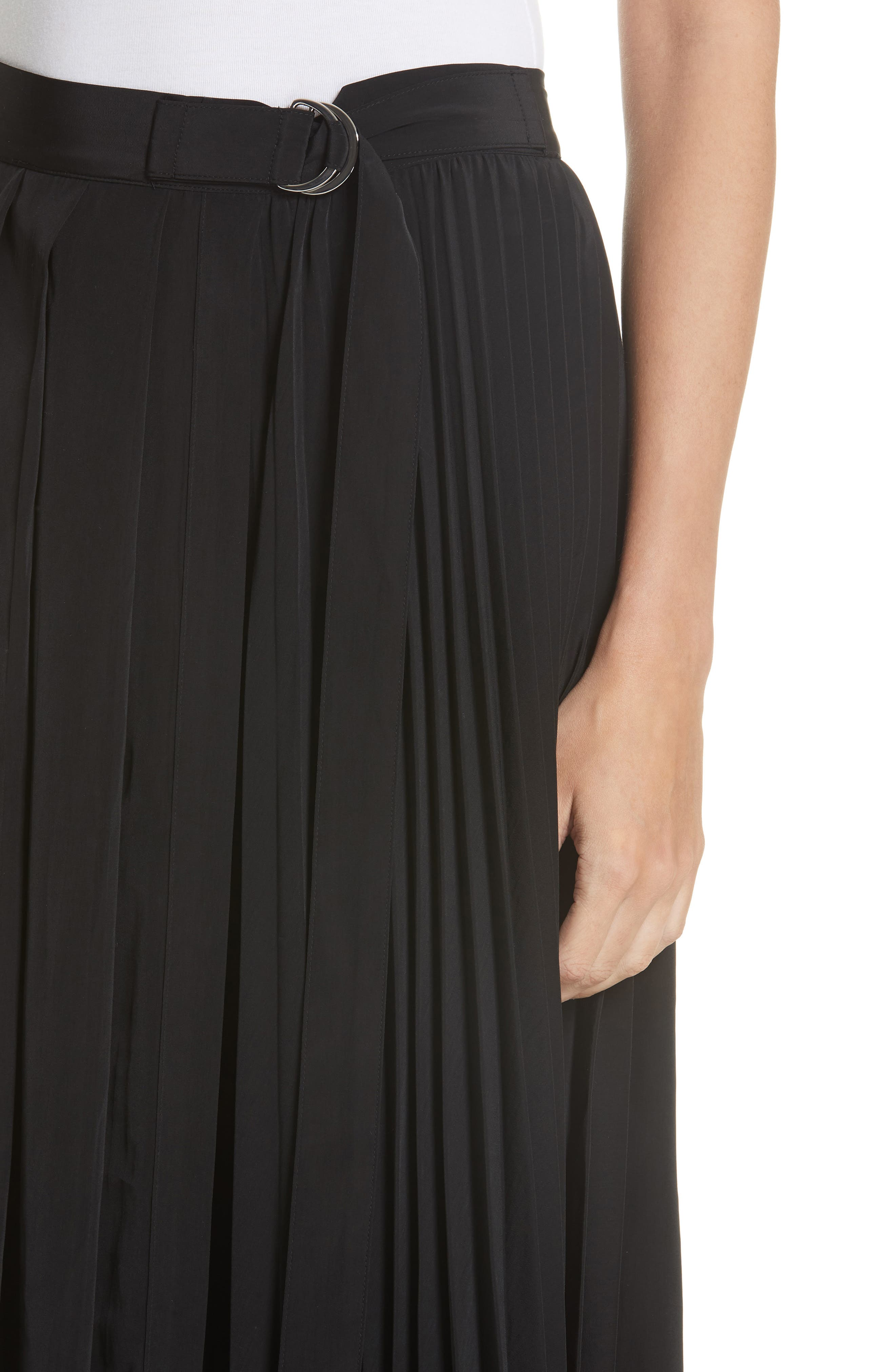 Asymmetrical Pleated Midi Skirt,                             Alternate thumbnail 4, color,                             BLACK