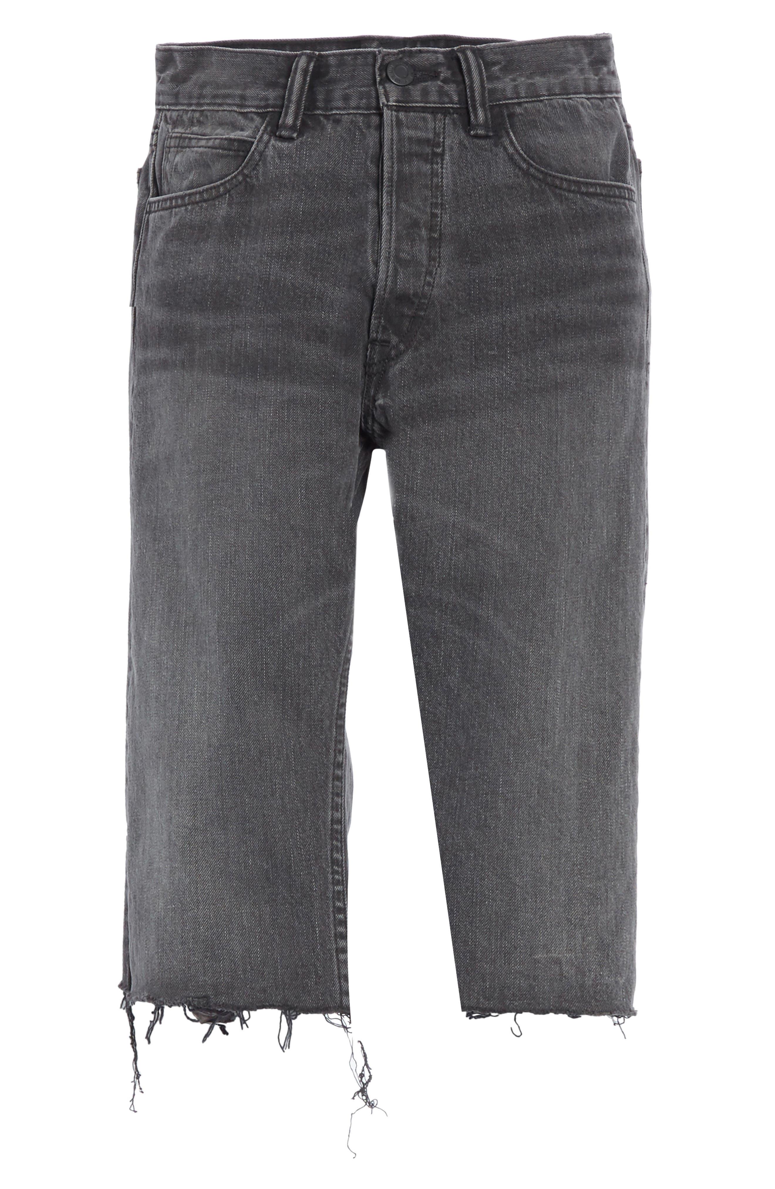 Cutoff Knee Length Denim Shorts,                             Alternate thumbnail 6, color,