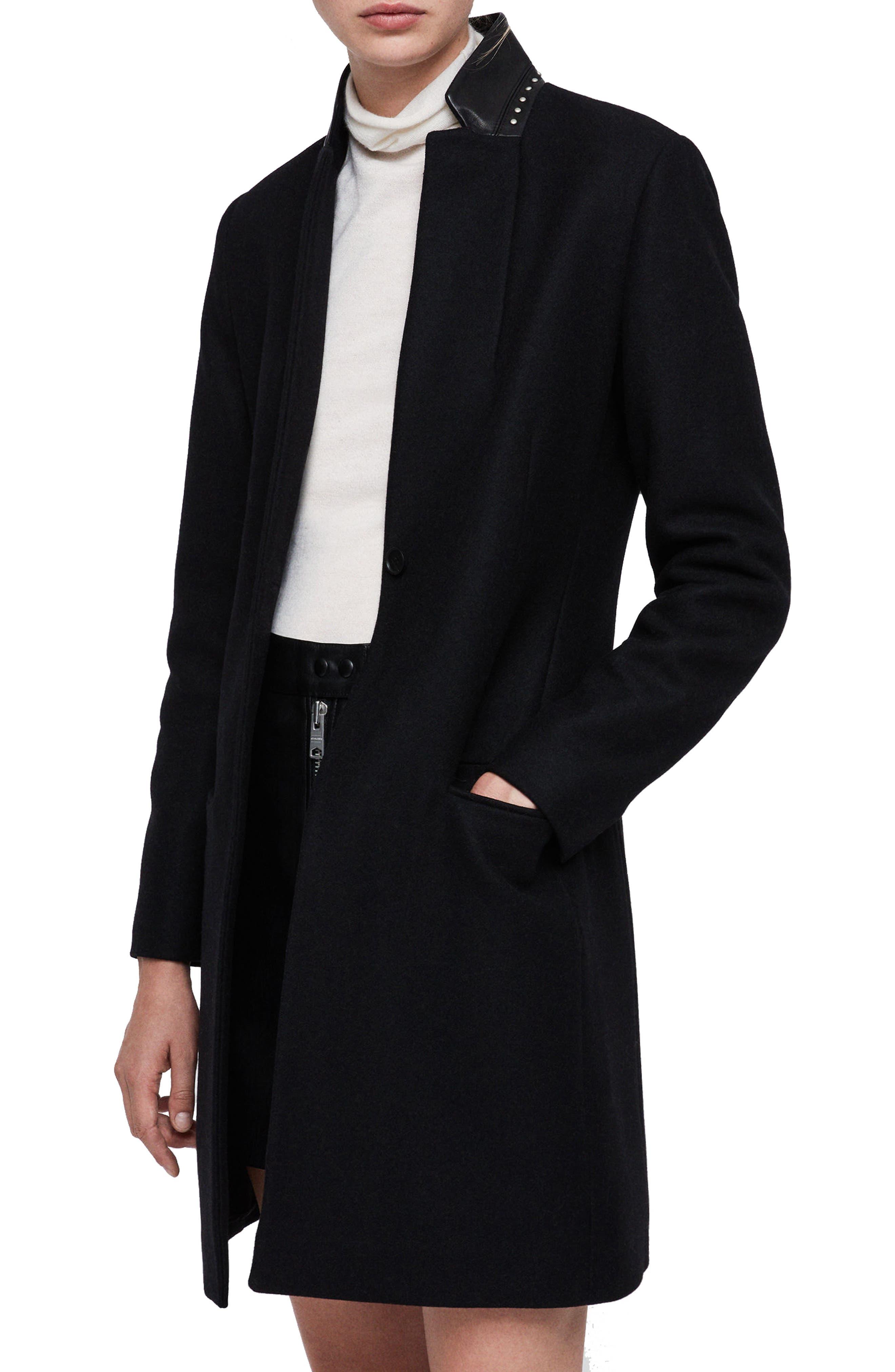 Leni Stud Trim Leather Collar Coat,                             Alternate thumbnail 3, color,                             BLACK