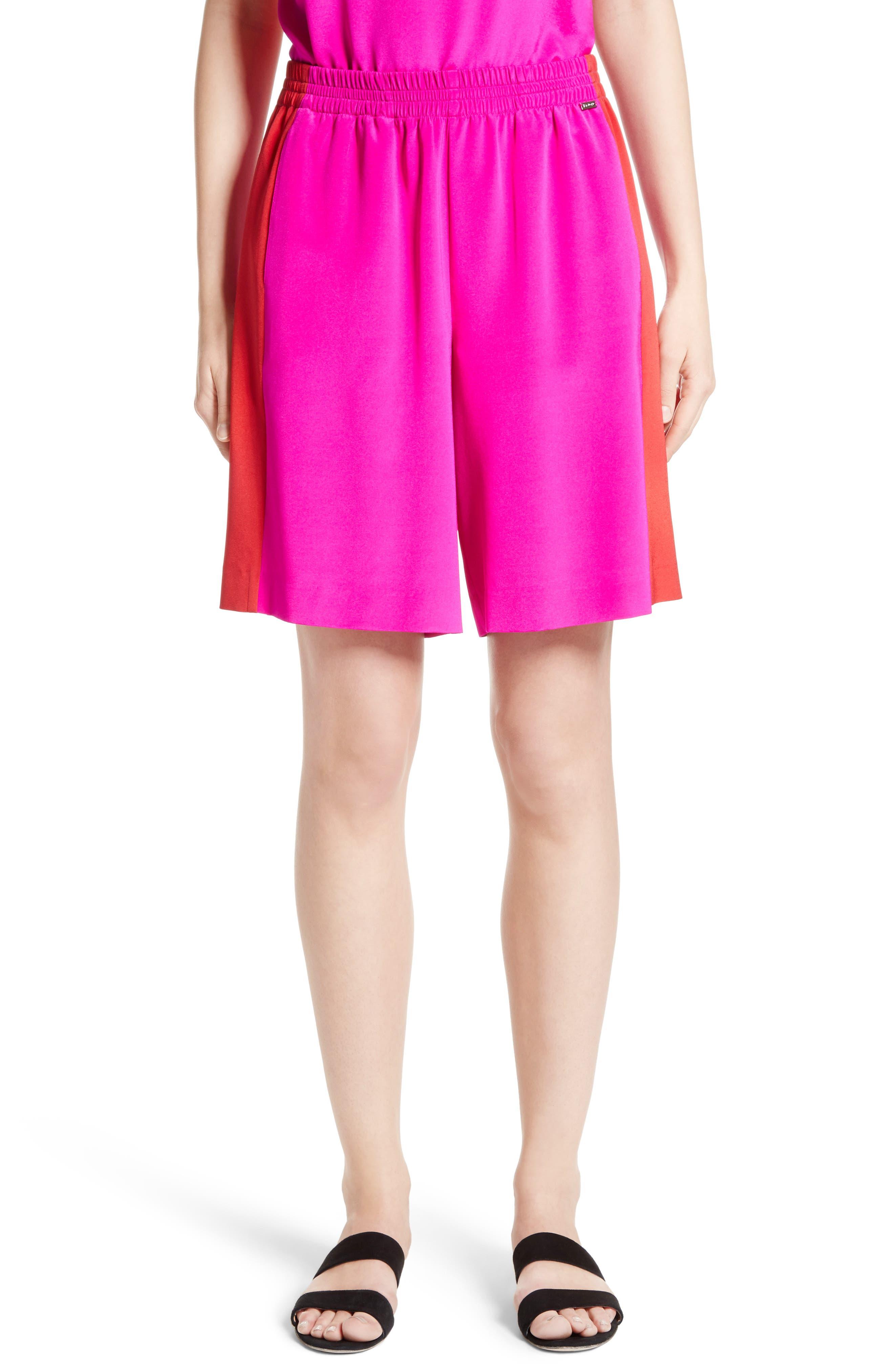 Silk Crêpe de Chine Contrast Side Shorts,                             Main thumbnail 1, color,                             670