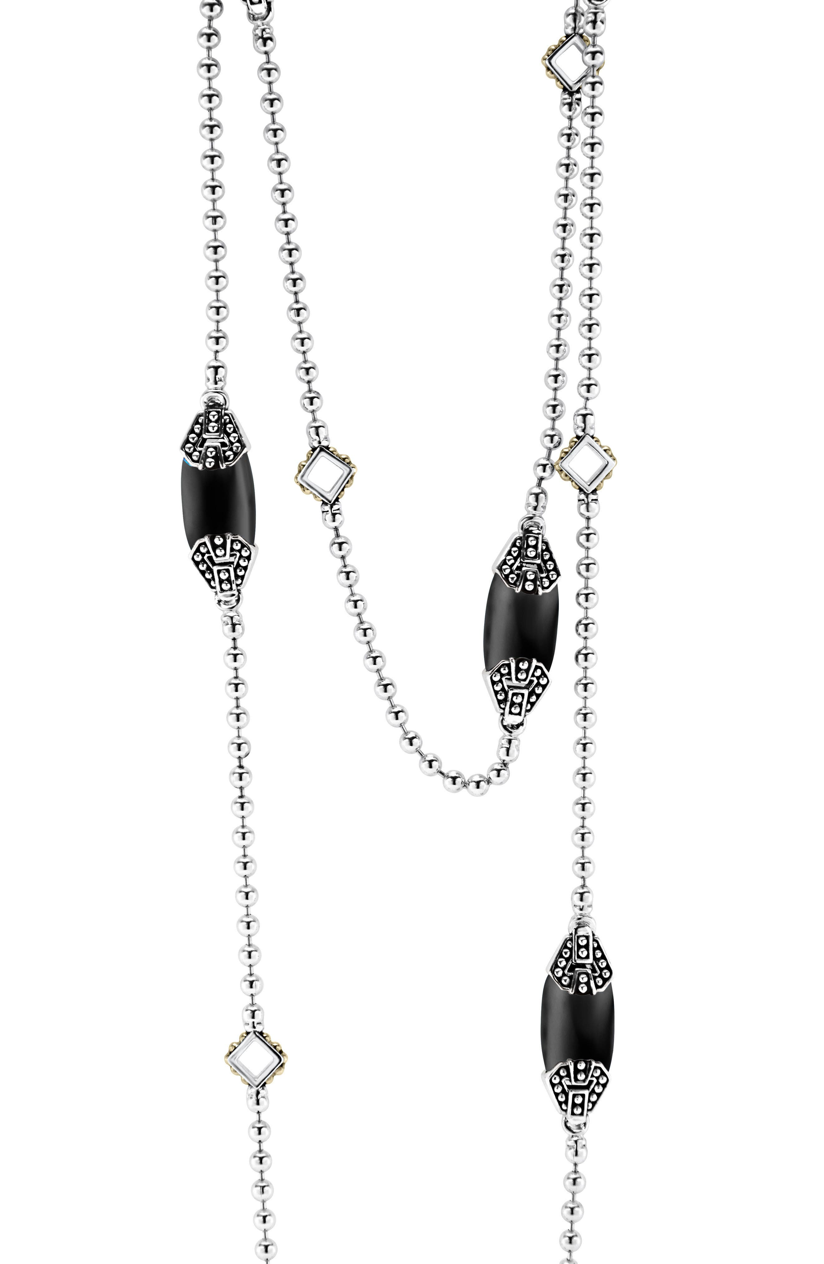 'Caviar Color' Long Semiprecious Stone Station Necklace,                             Alternate thumbnail 3, color,                             BLACK ONYX