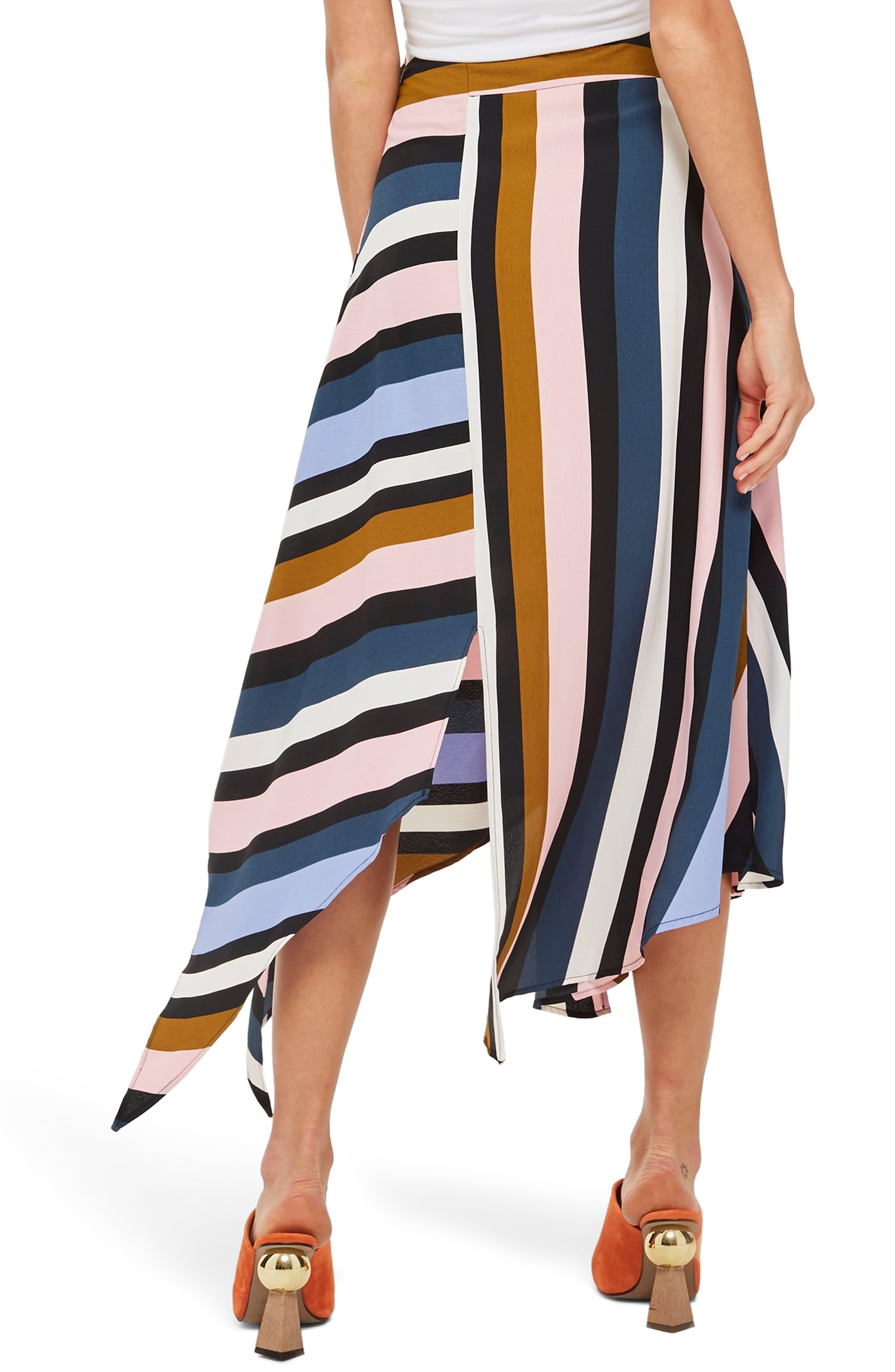 Multi Stripe Asymmetric Midi Skirt,                             Alternate thumbnail 2, color,                             BLACK MULTI