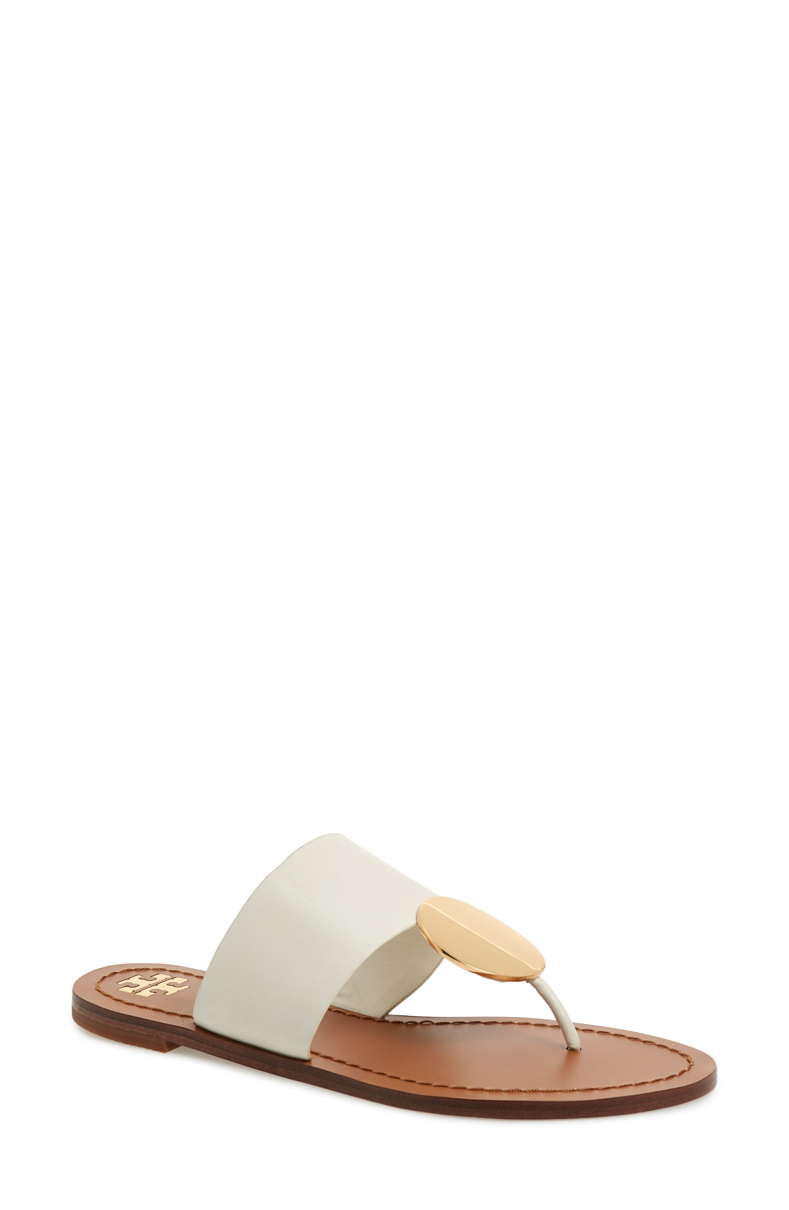 9dd055198453b0 Tory Burch Women S Patos Disk Leather Thong Sandals In Perfect Ivory  Gold