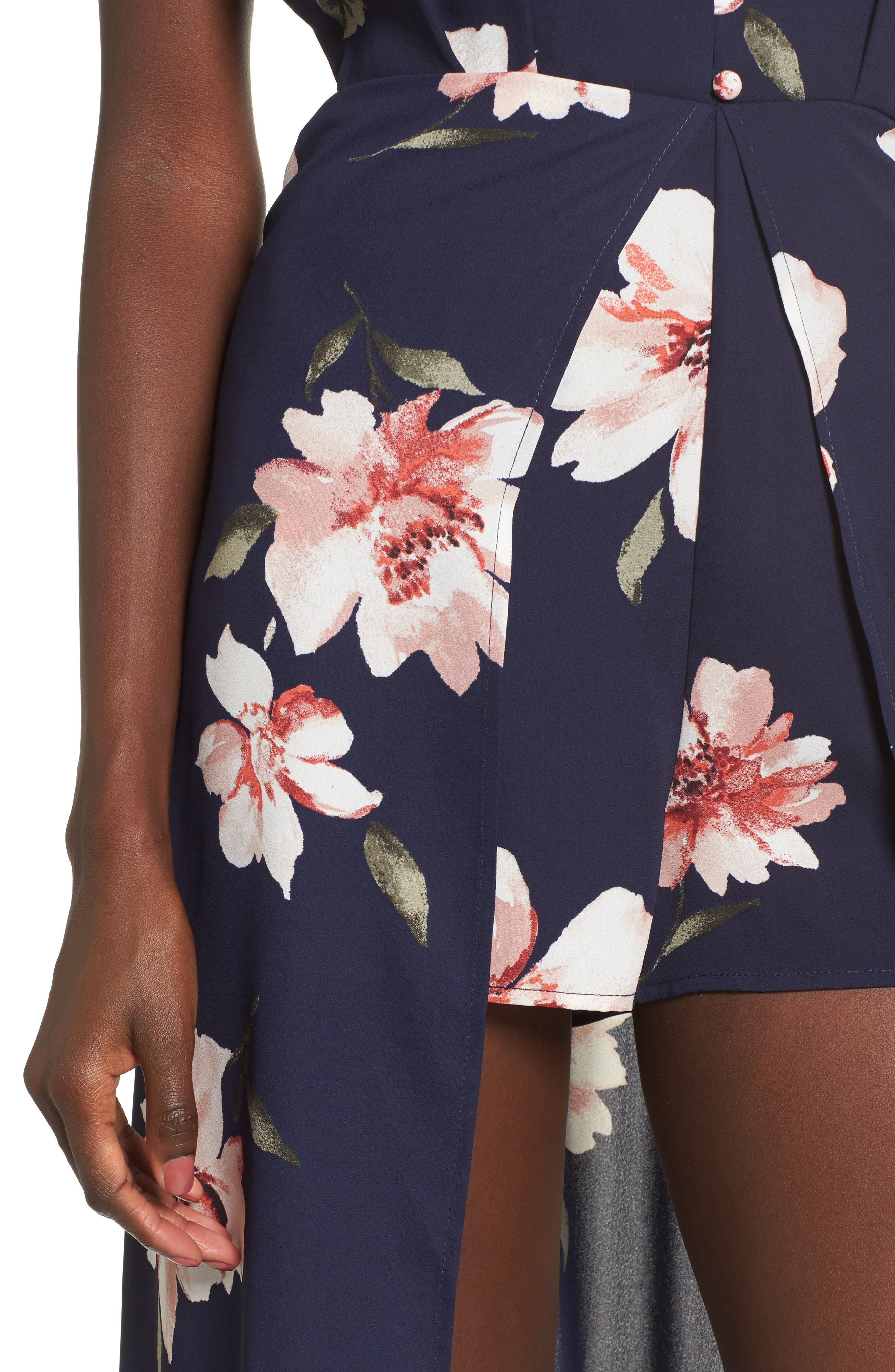 Floral Print Midi Romper,                             Alternate thumbnail 4, color,                             410