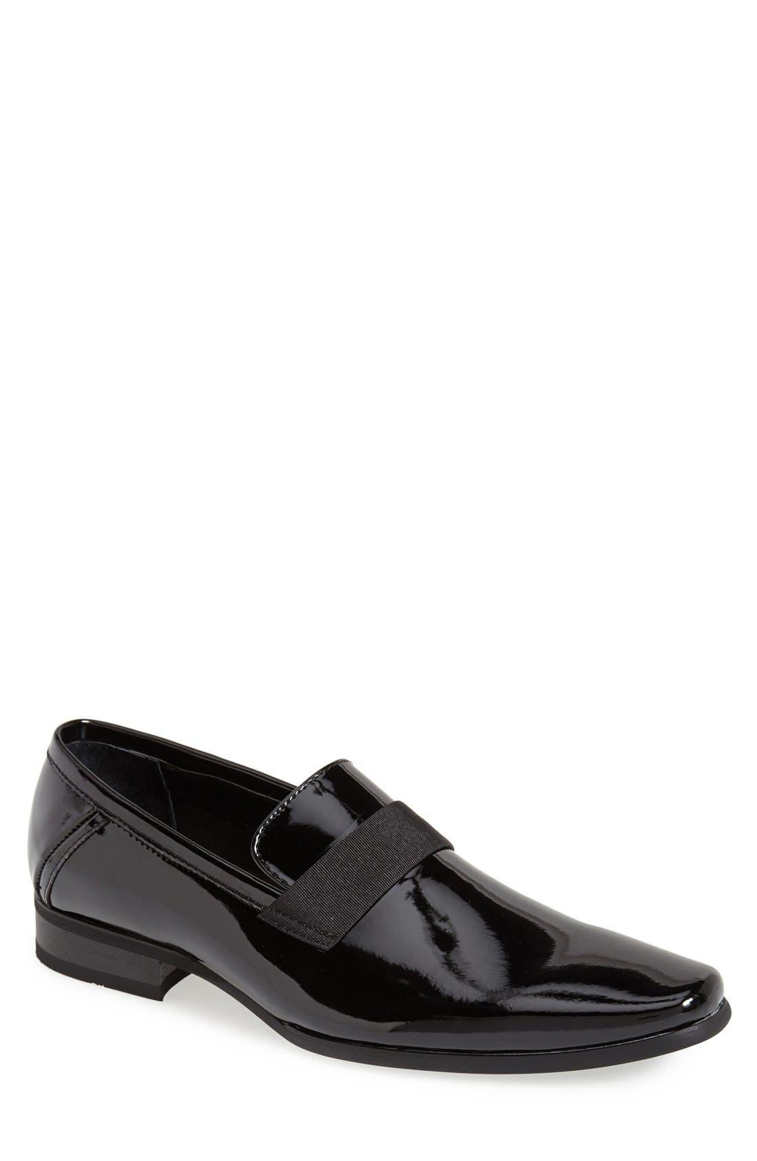 CALVIN KLEIN,                             'Bernard' Venetian Loafer,                             Main thumbnail 1, color,                             BLACK
