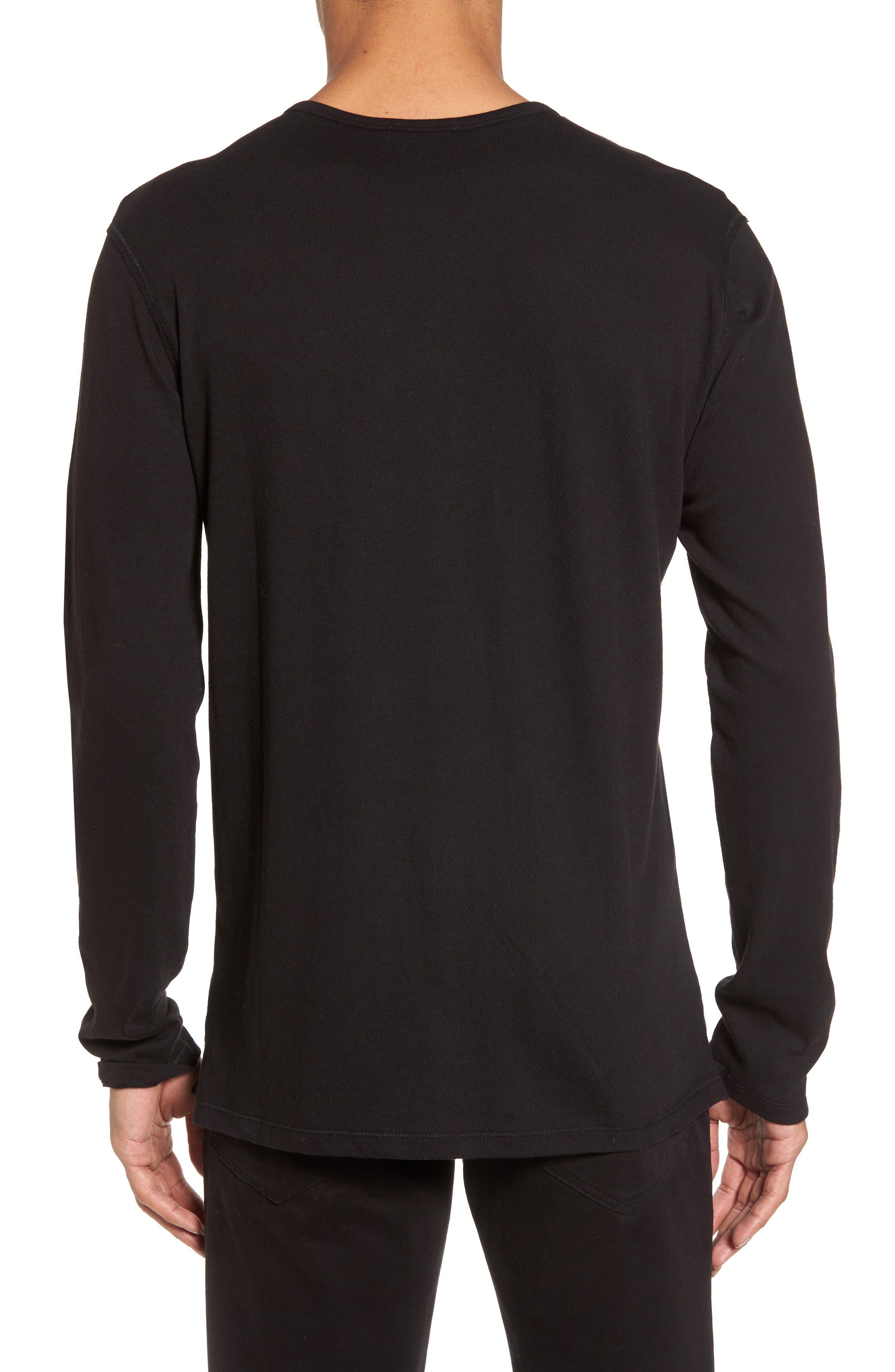 Raw Edge Long Sleeve Henley T-Shirt,                             Alternate thumbnail 2, color,                             001
