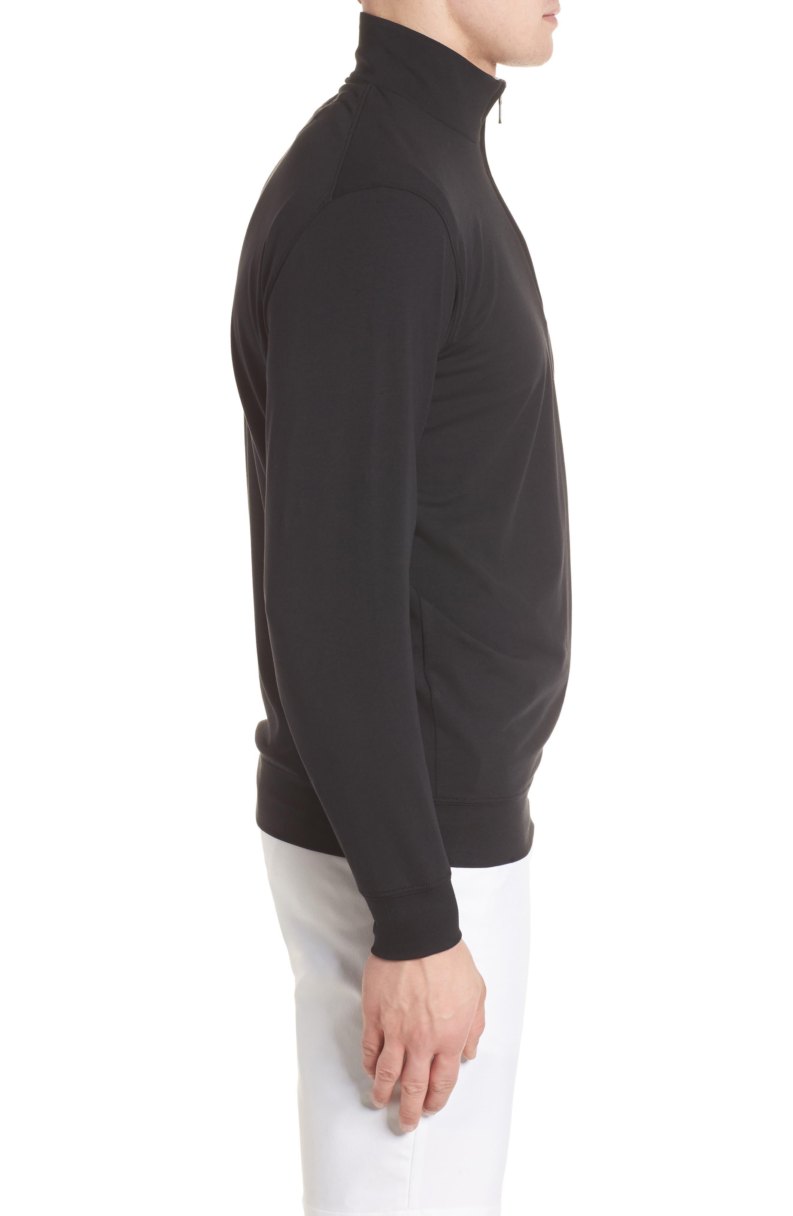 PTO Liquid Stretch Quarter Zip Pullover,                             Alternate thumbnail 3, color,                             BLACK