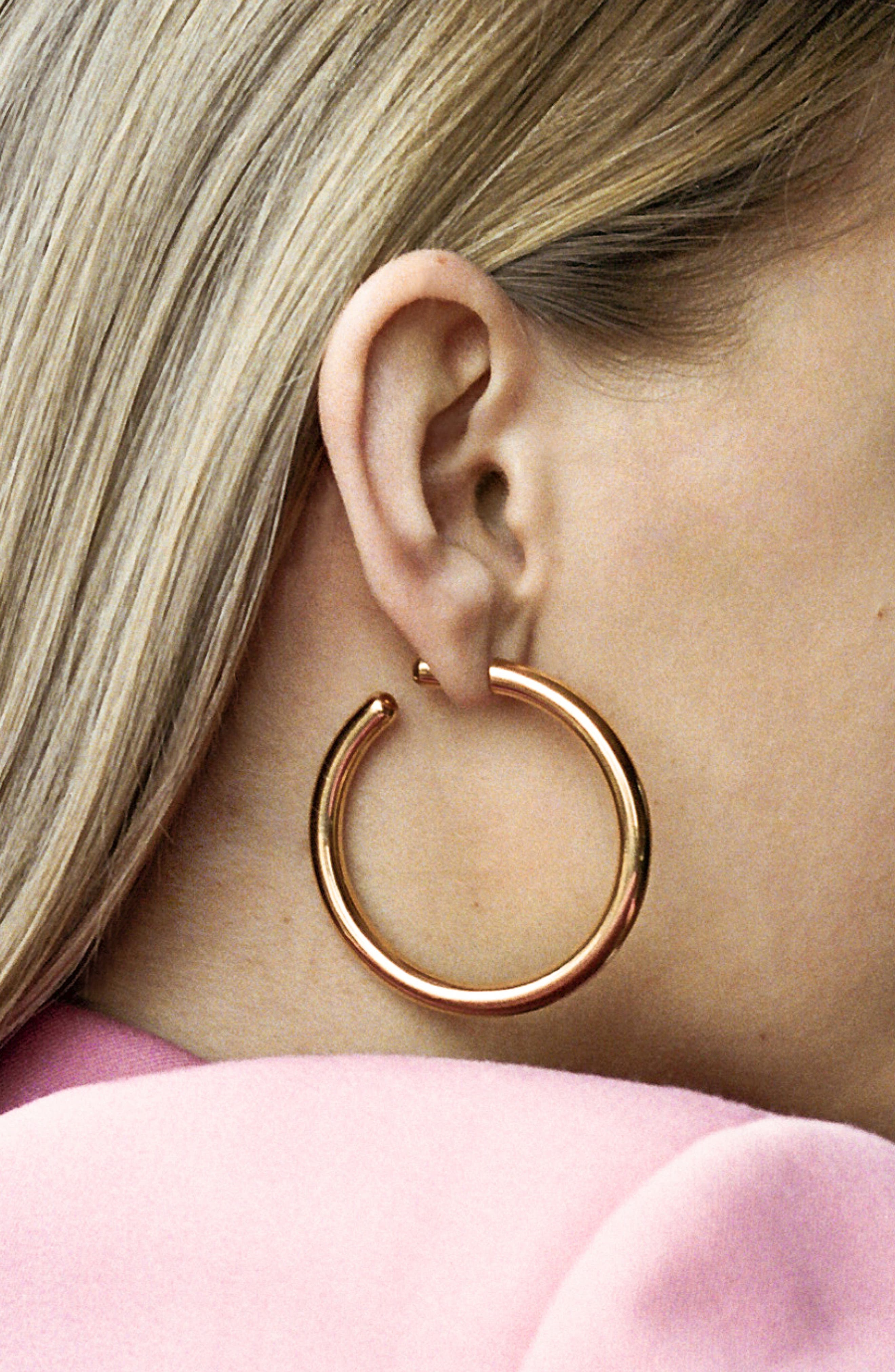 Heroes Hoop Earring,                             Alternate thumbnail 2, color,                             HIGH POLISHED GOLD