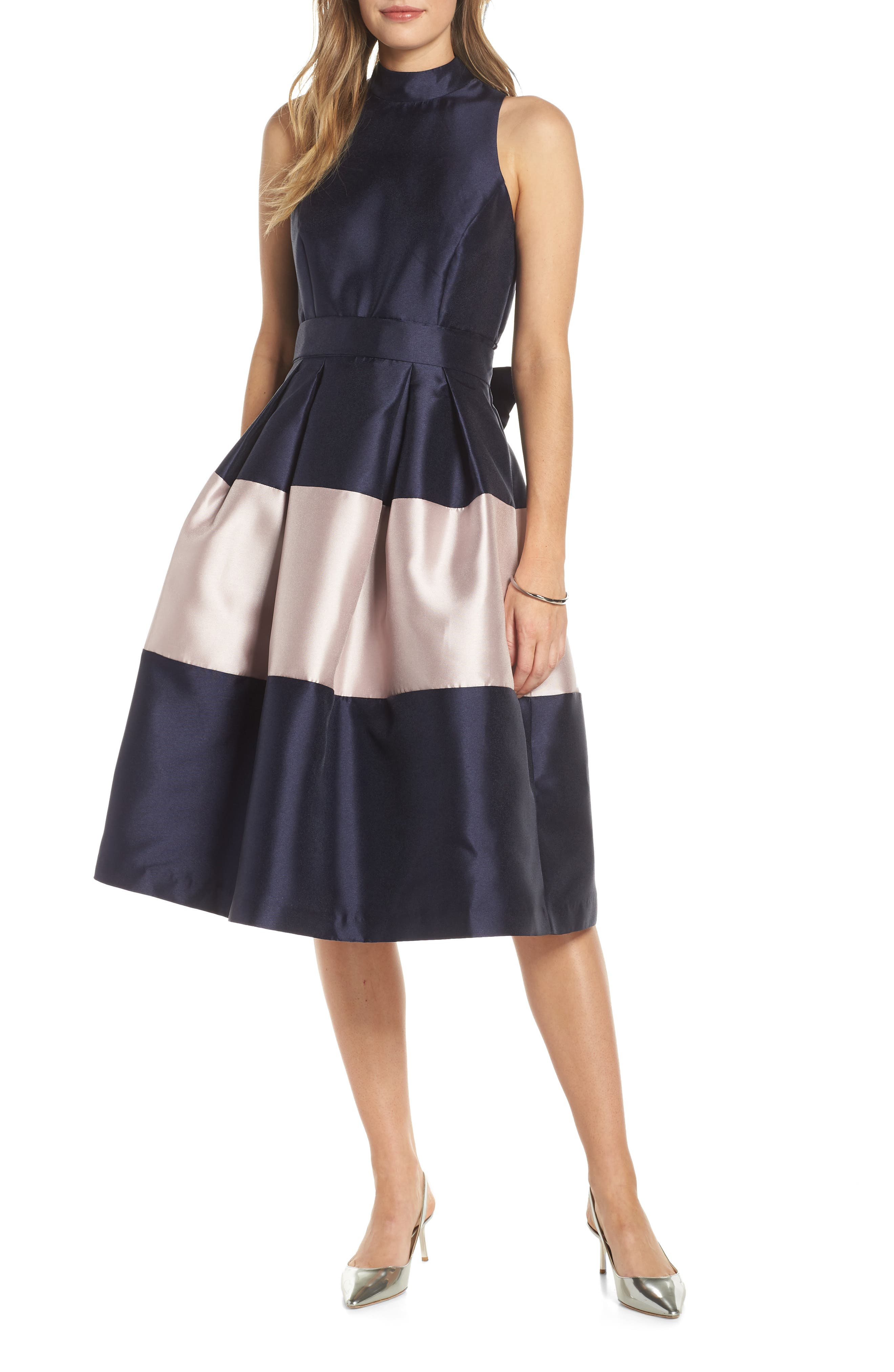 1901 Colorblock Fit & Flare Dress, Main, color, NAVY SAPPHIRE