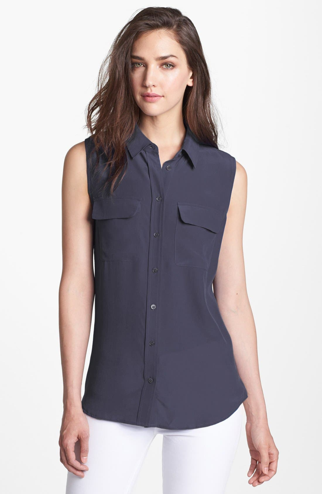 'Slim Signature' Sleeveless Silk Shirt,                             Main thumbnail 5, color,