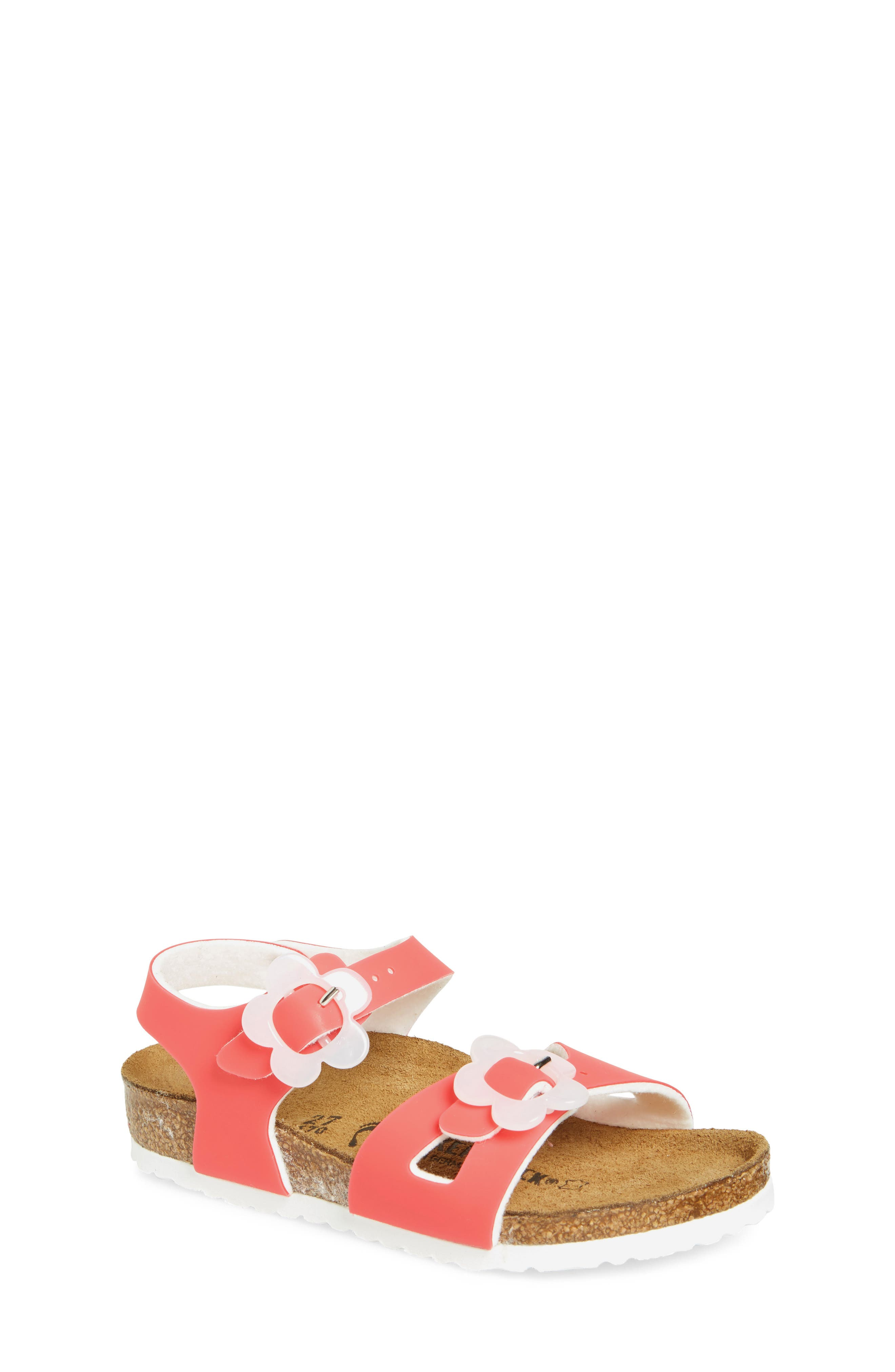 Rio Flowered Sandal,                             Main thumbnail 1, color,                             CANDY PINK