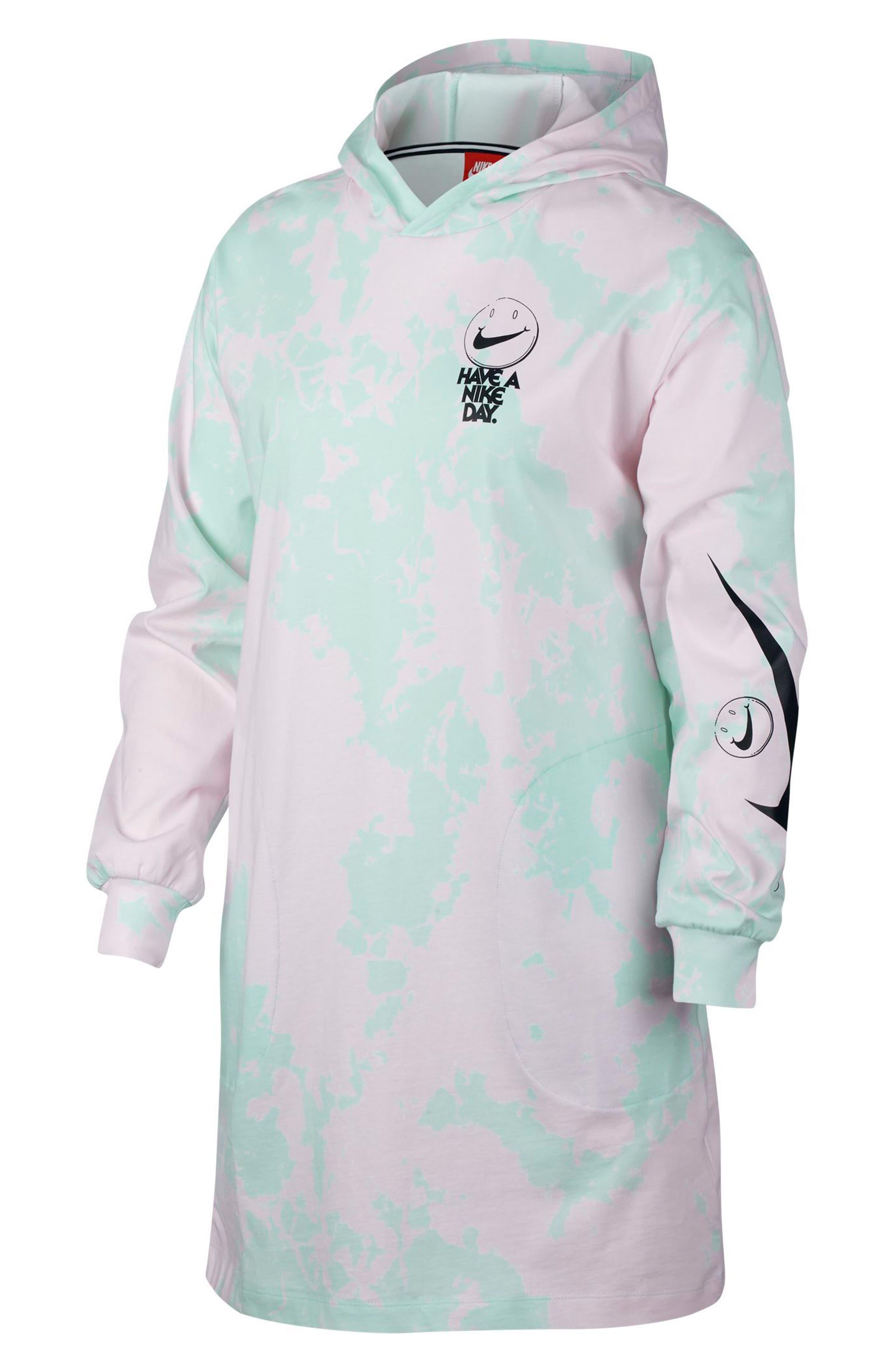 Sportswear Tie Dye Hooded Jersey Dress,                         Main,                         color, 400