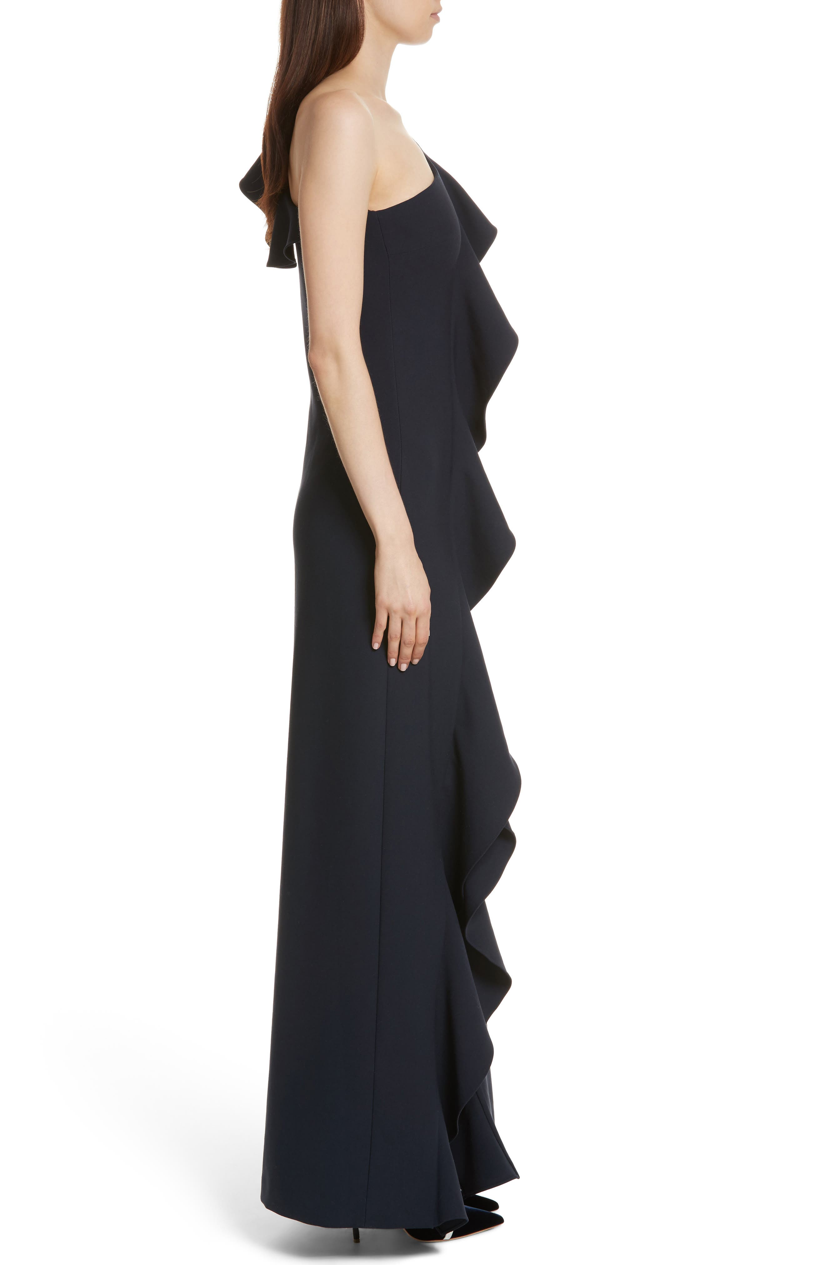Remy One Shoulder Ruffle Gown,                             Alternate thumbnail 3, color,                             410