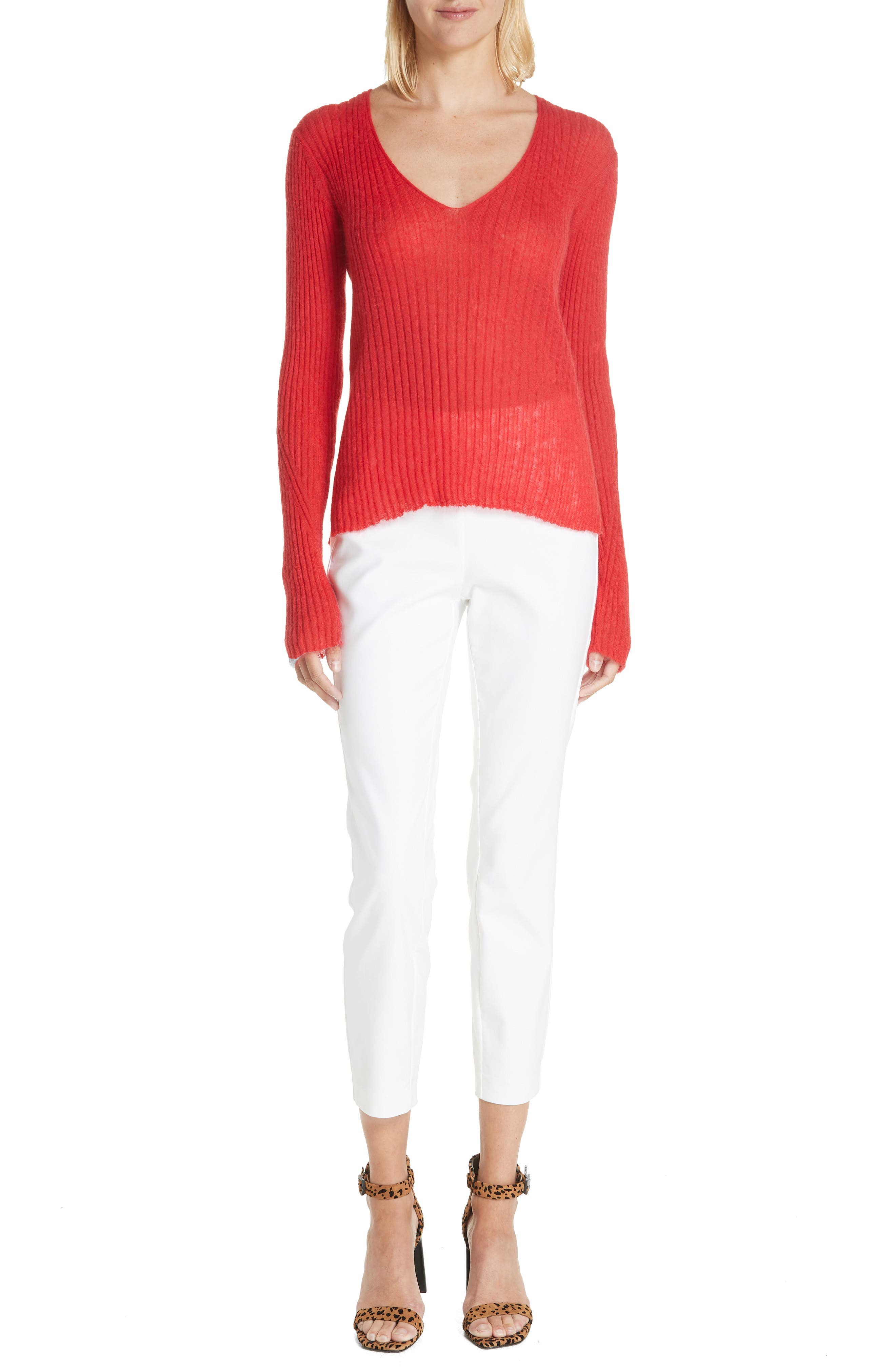 Donna Mohair & Wool Blend Sweater,                             Alternate thumbnail 7, color,                             RED
