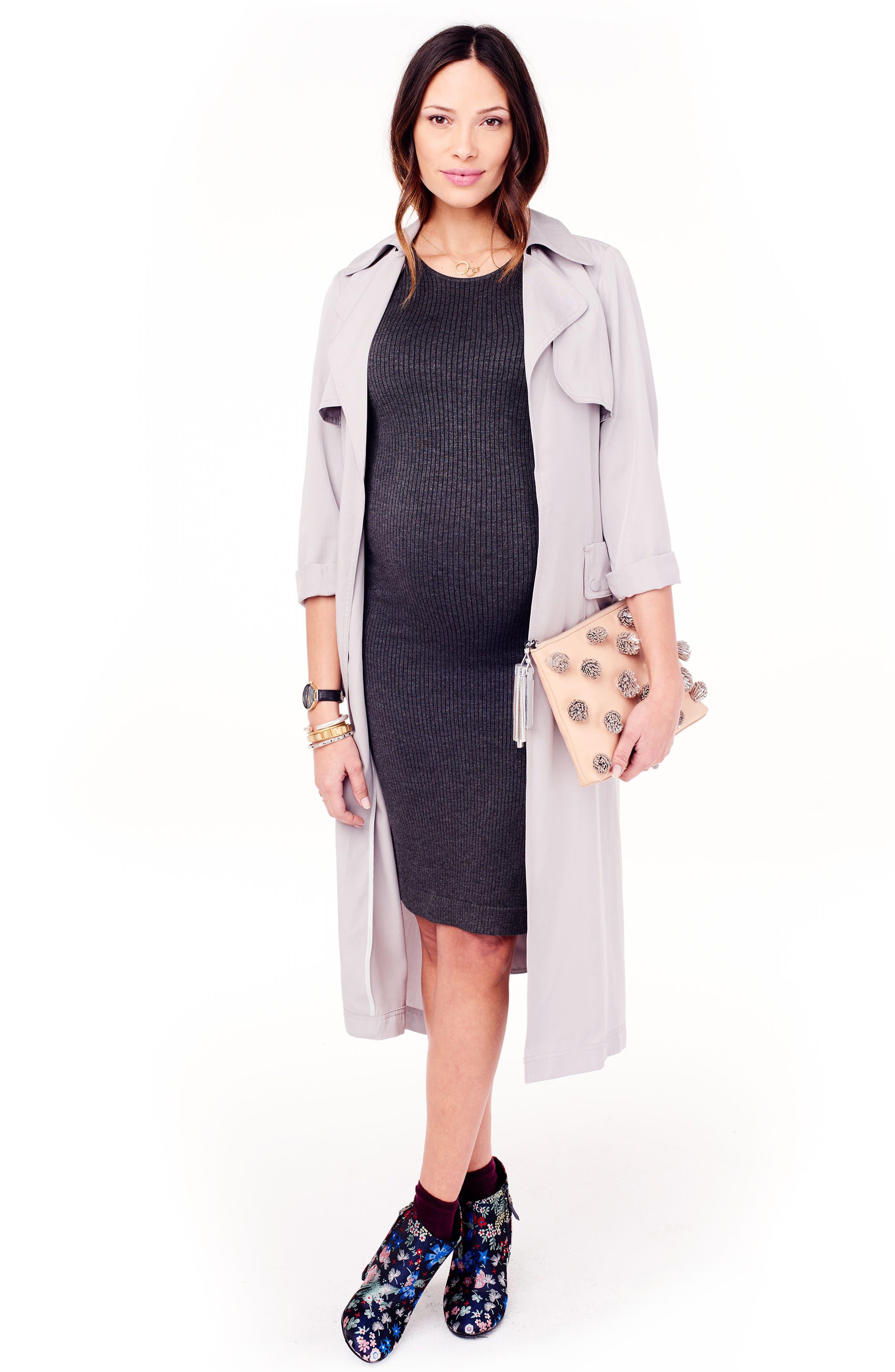 Ribbed Maternity Sweater Dress,                             Alternate thumbnail 4, color,                             MEDIUM GREY HEATHER