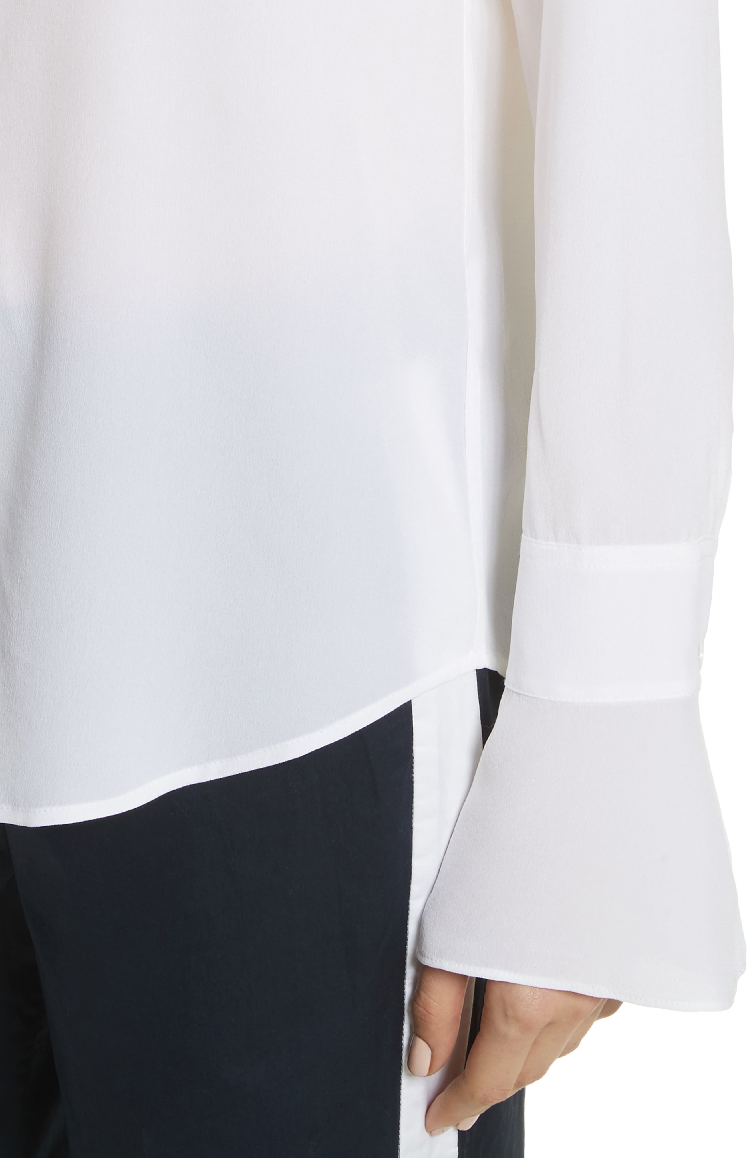 Daphine Bell Cuff Silk Shirt,                             Alternate thumbnail 8, color,