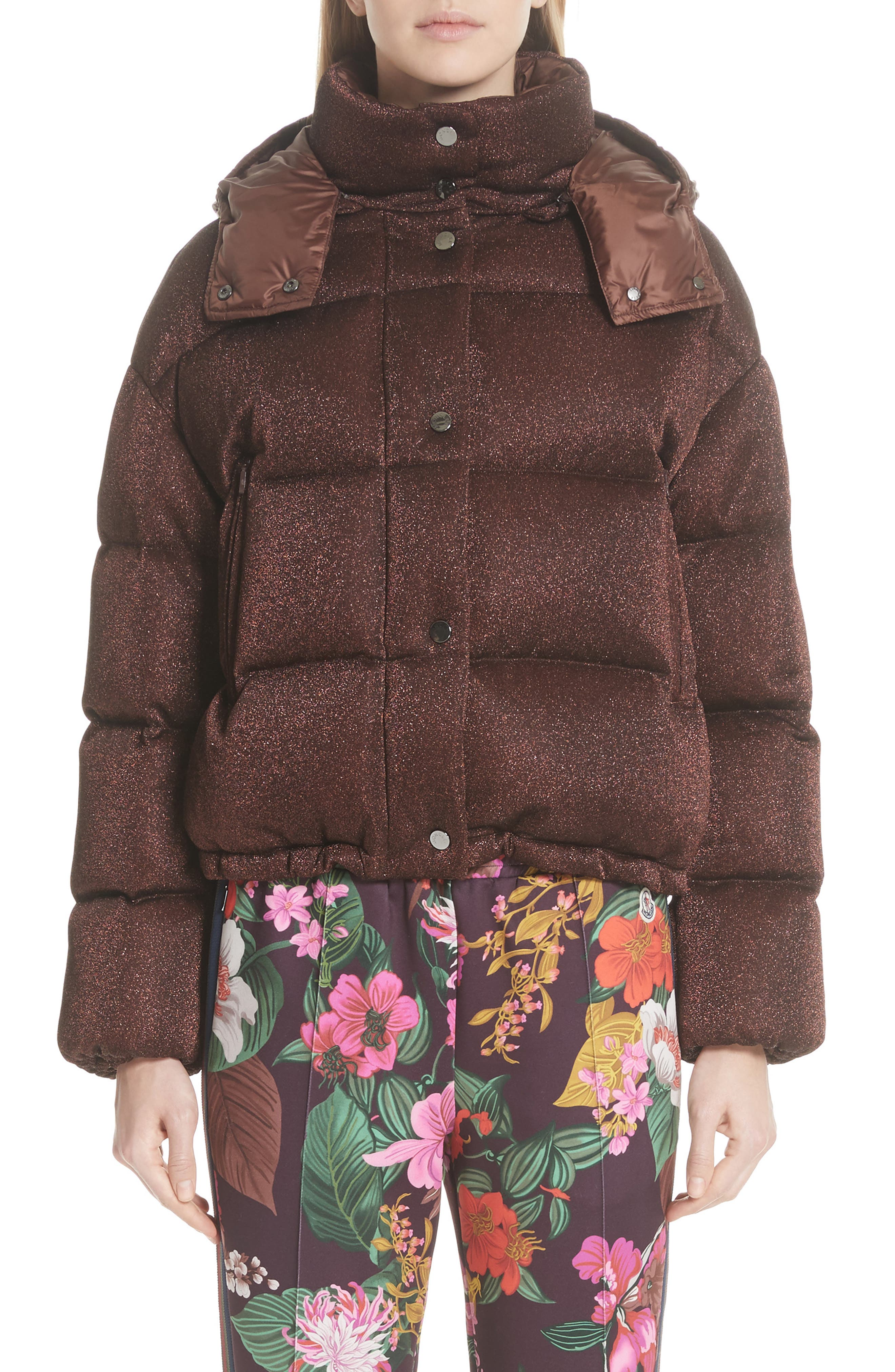 Caille Metallic Quilted Down Jacket, Main, color, BROWN LUREX