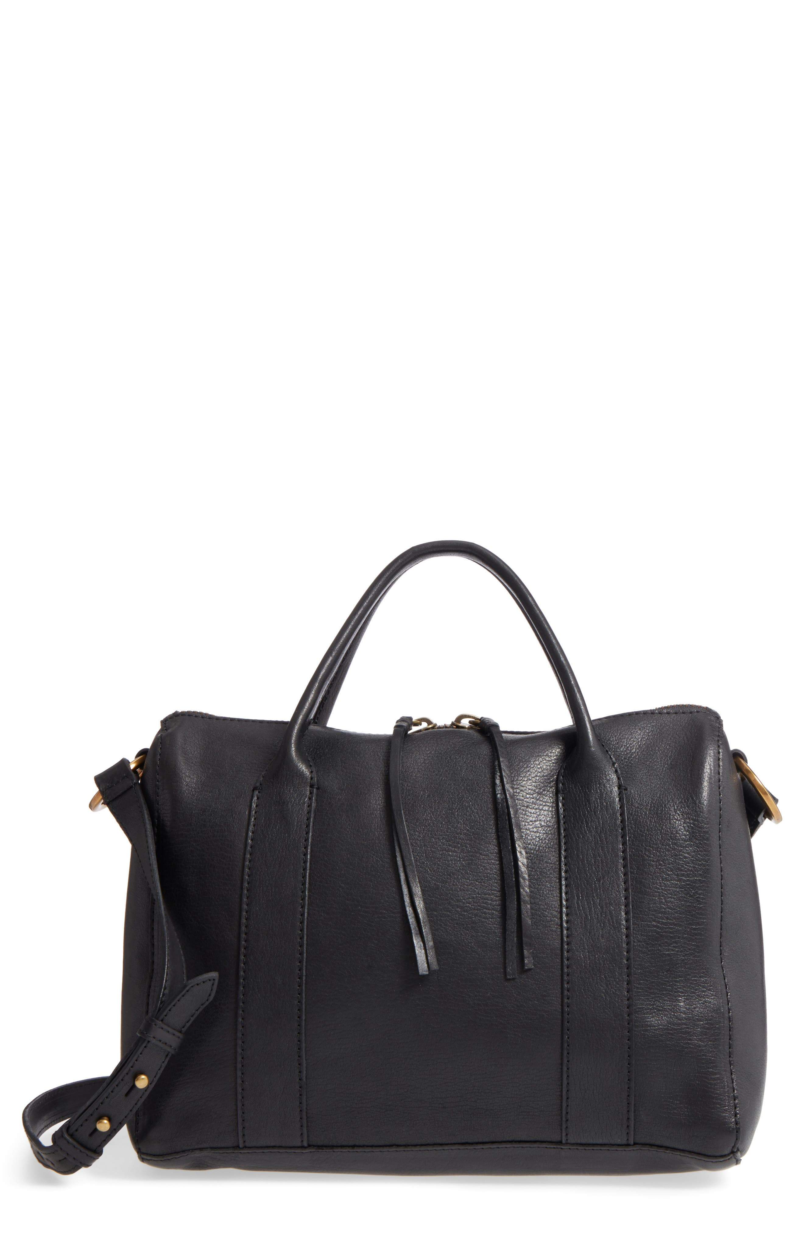 O-Ring Leather Satchel,                         Main,                         color, TRUE BLACK