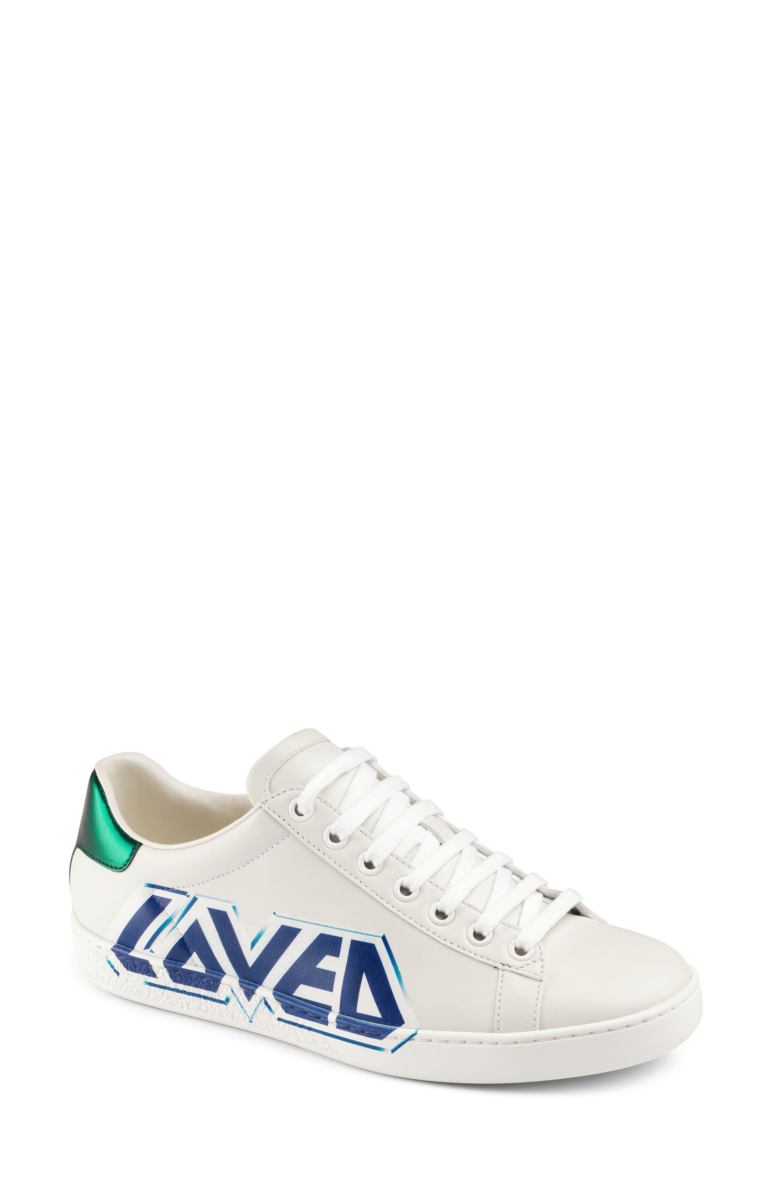 GUCCI,                             New Ace Loved Sneaker,                             Main thumbnail 1, color,                             WHITE