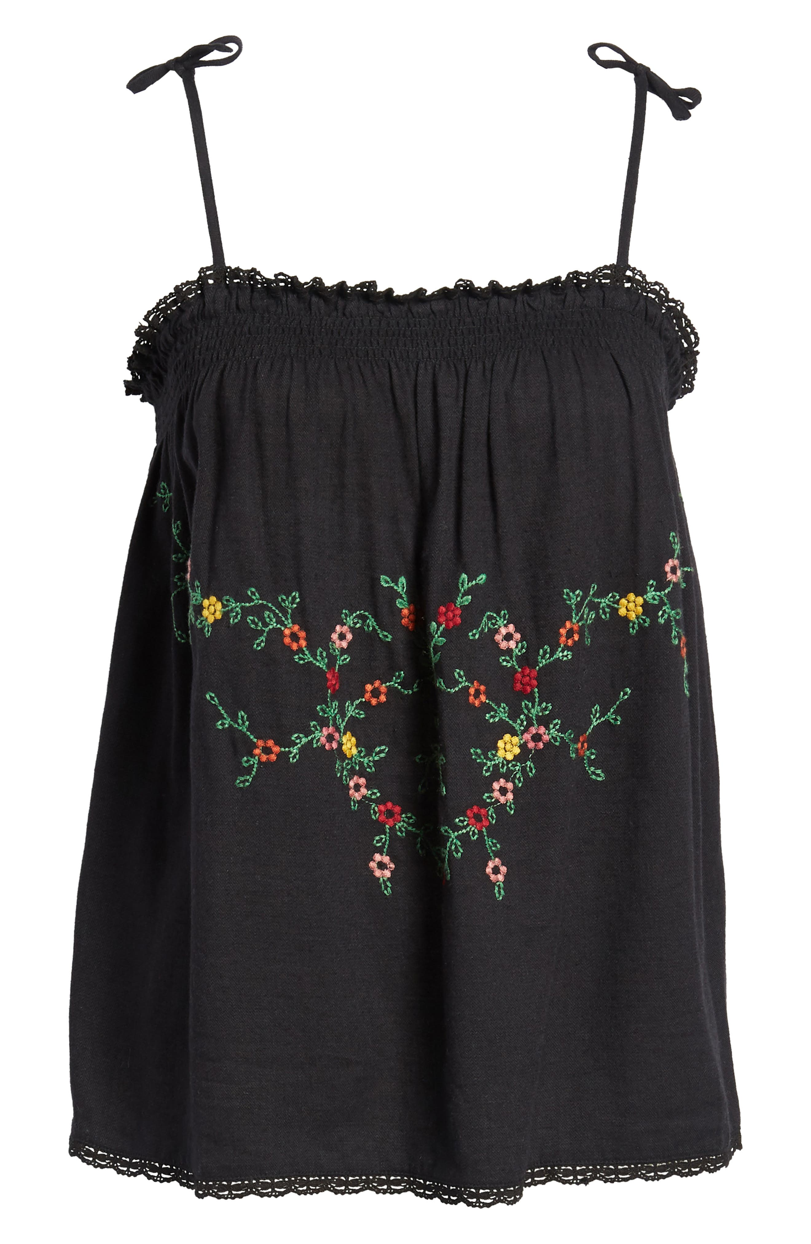 Embroidered Vintage Camisole Top,                             Alternate thumbnail 7, color,                             001