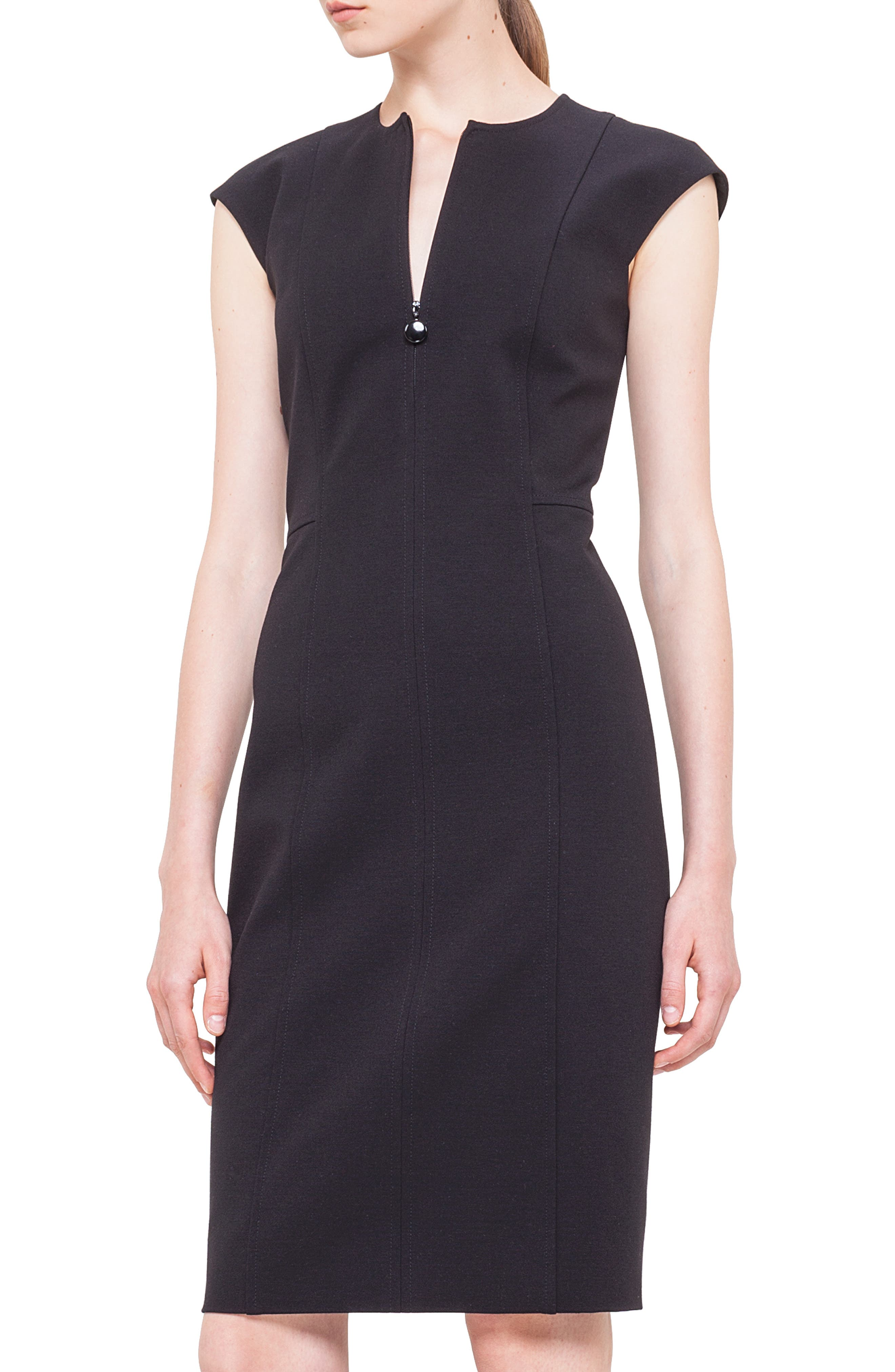Cap Sleeve Sheath Dress,                             Alternate thumbnail 4, color,                             BLACK