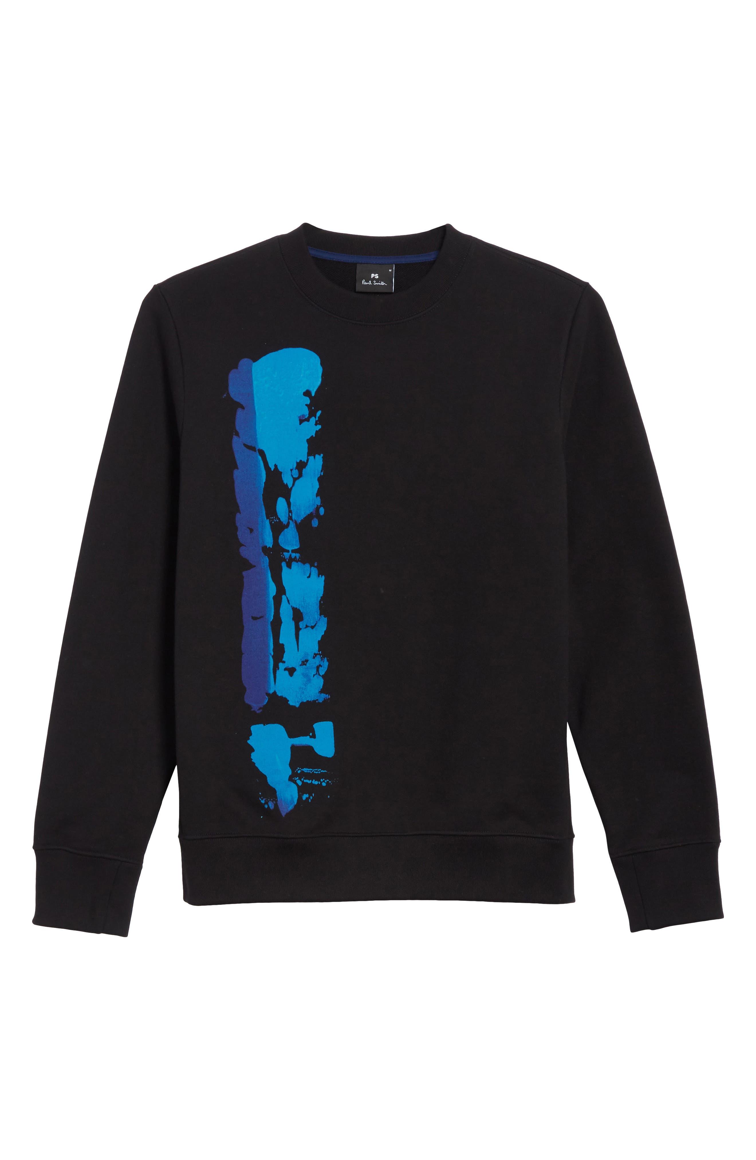 Abstract Brush Graphic Sweatshirt,                             Alternate thumbnail 6, color,                             001