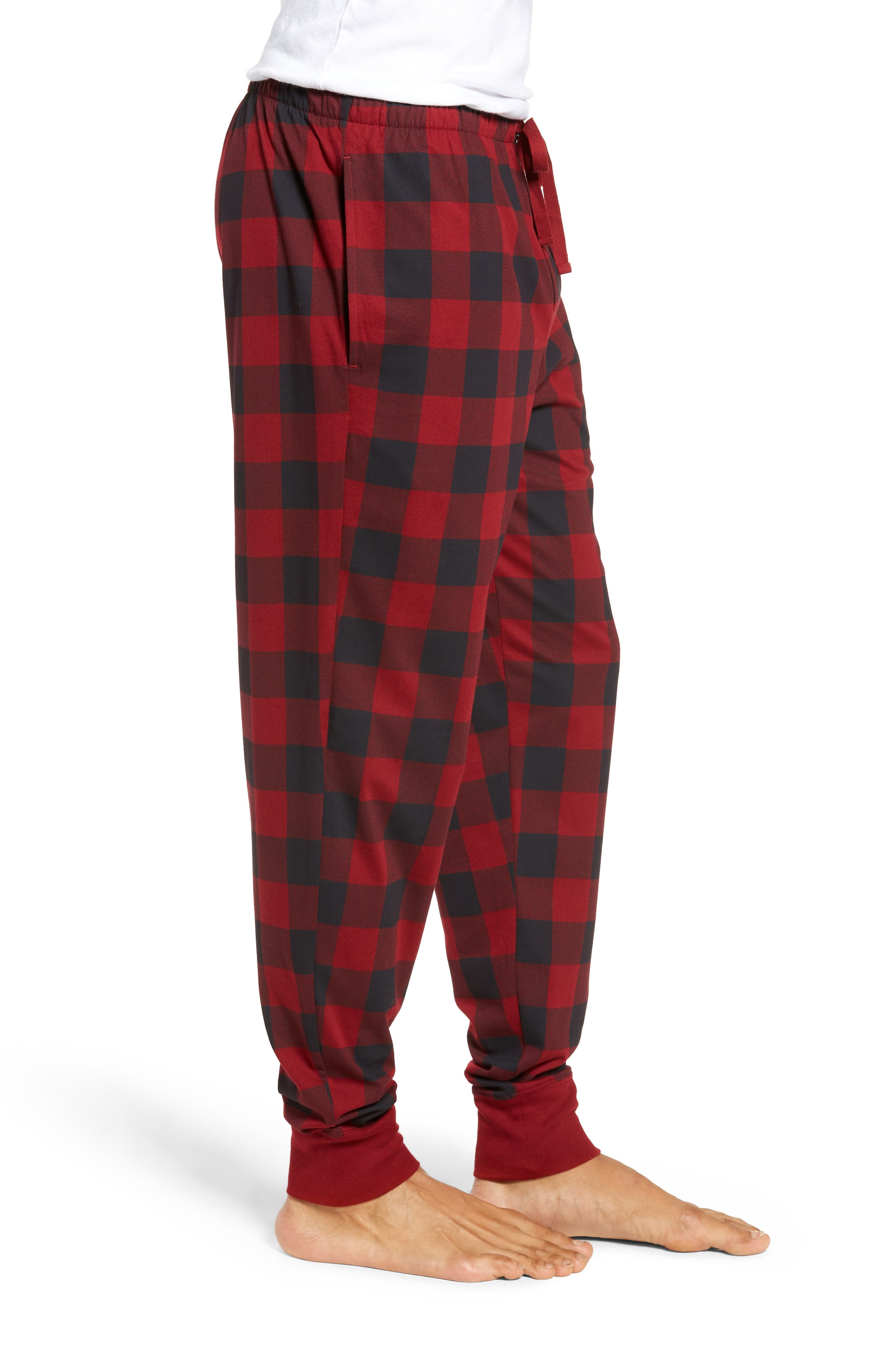 Cotton Lounge Pants,                             Alternate thumbnail 3, color,                             HOLIDAY RED
