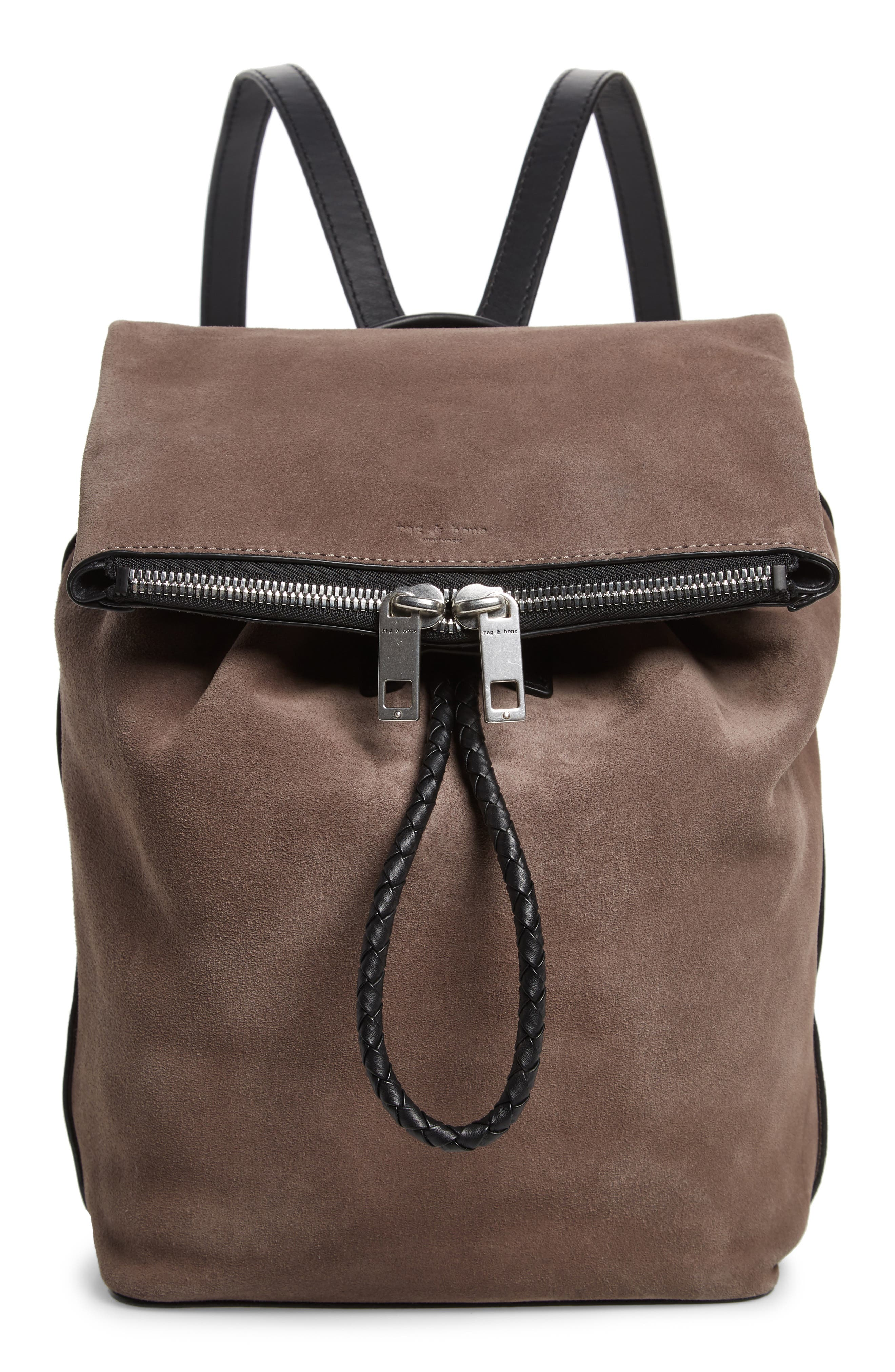 Loner Leather Backpack,                         Main,                         color, ELEPHANT SUEDE