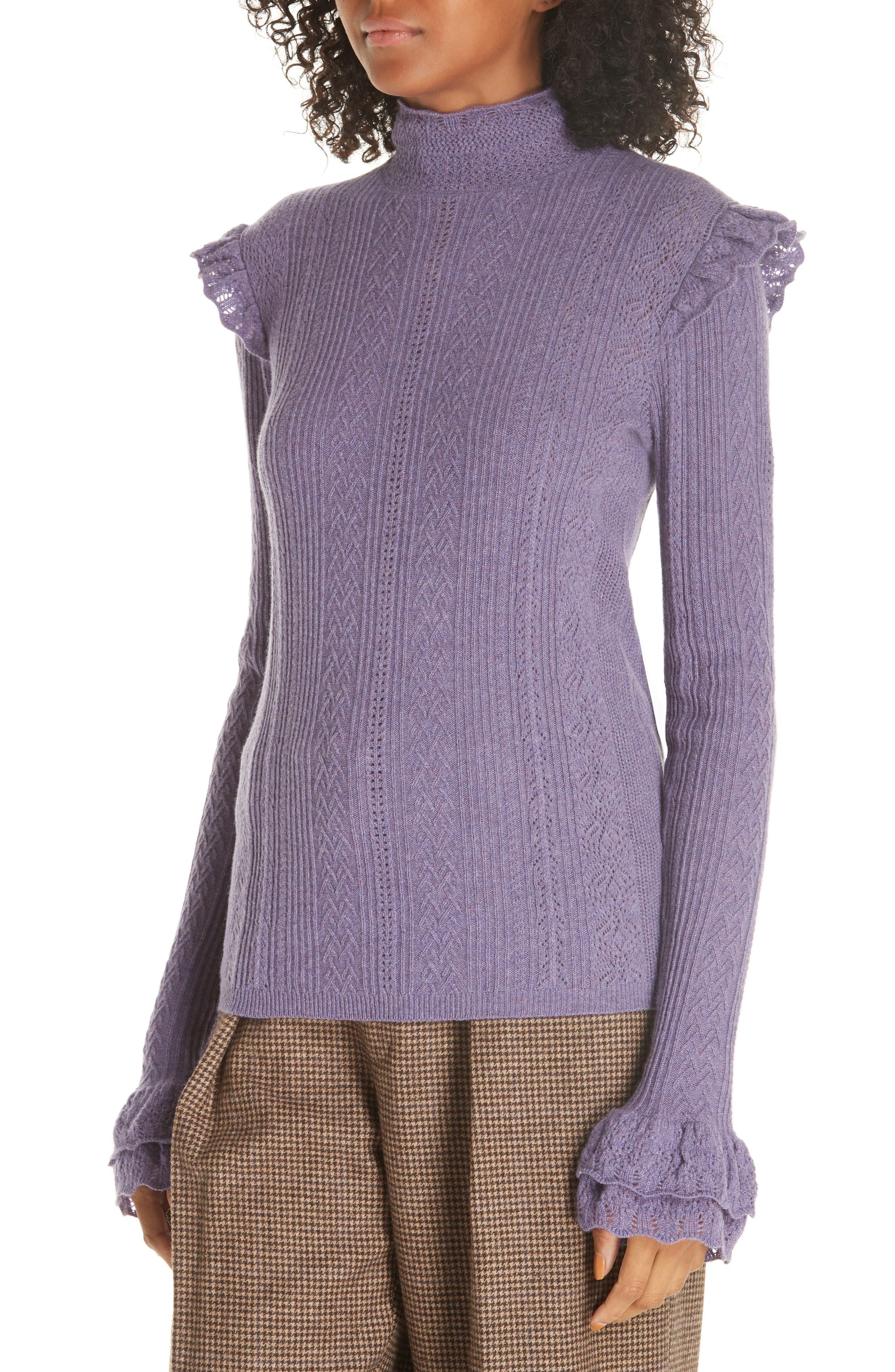POLO RALPH LAUREN,                             Ruffle Detail Pointelle Sweater,                             Alternate thumbnail 4, color,                             500