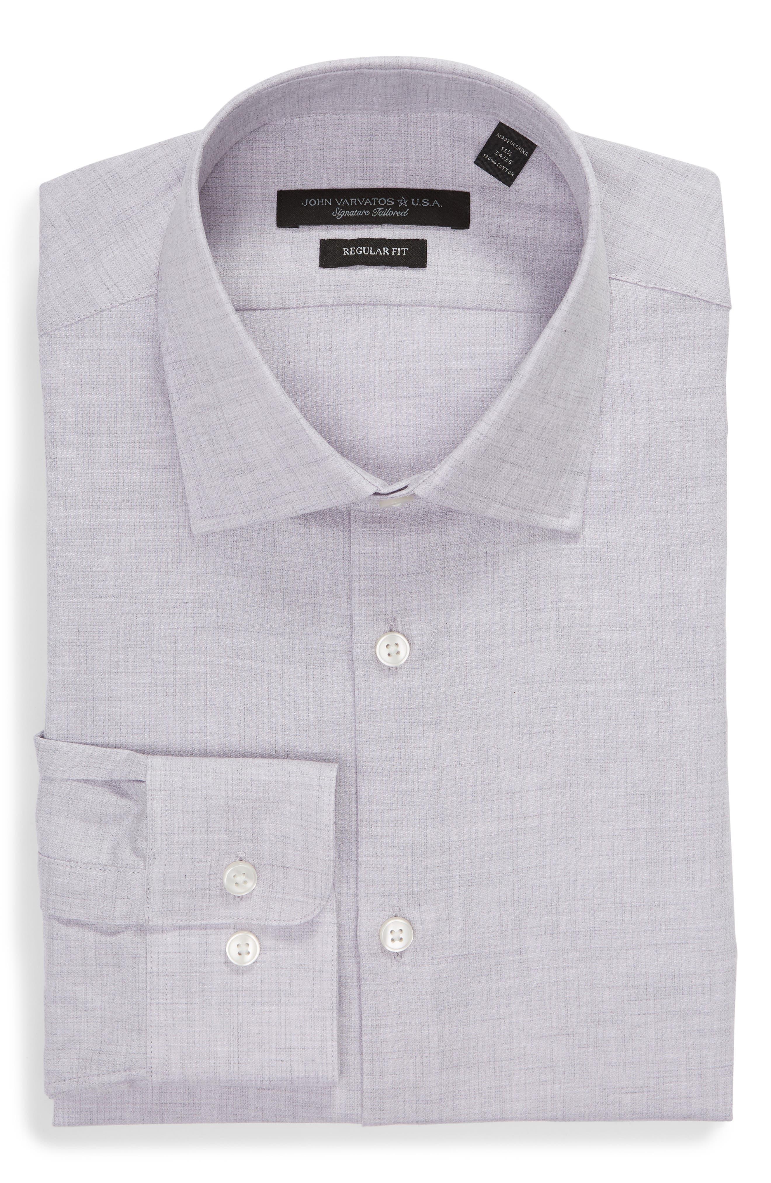 Regular Fit Solid Dress Shirt,                             Alternate thumbnail 5, color,                             HYDRANGEA