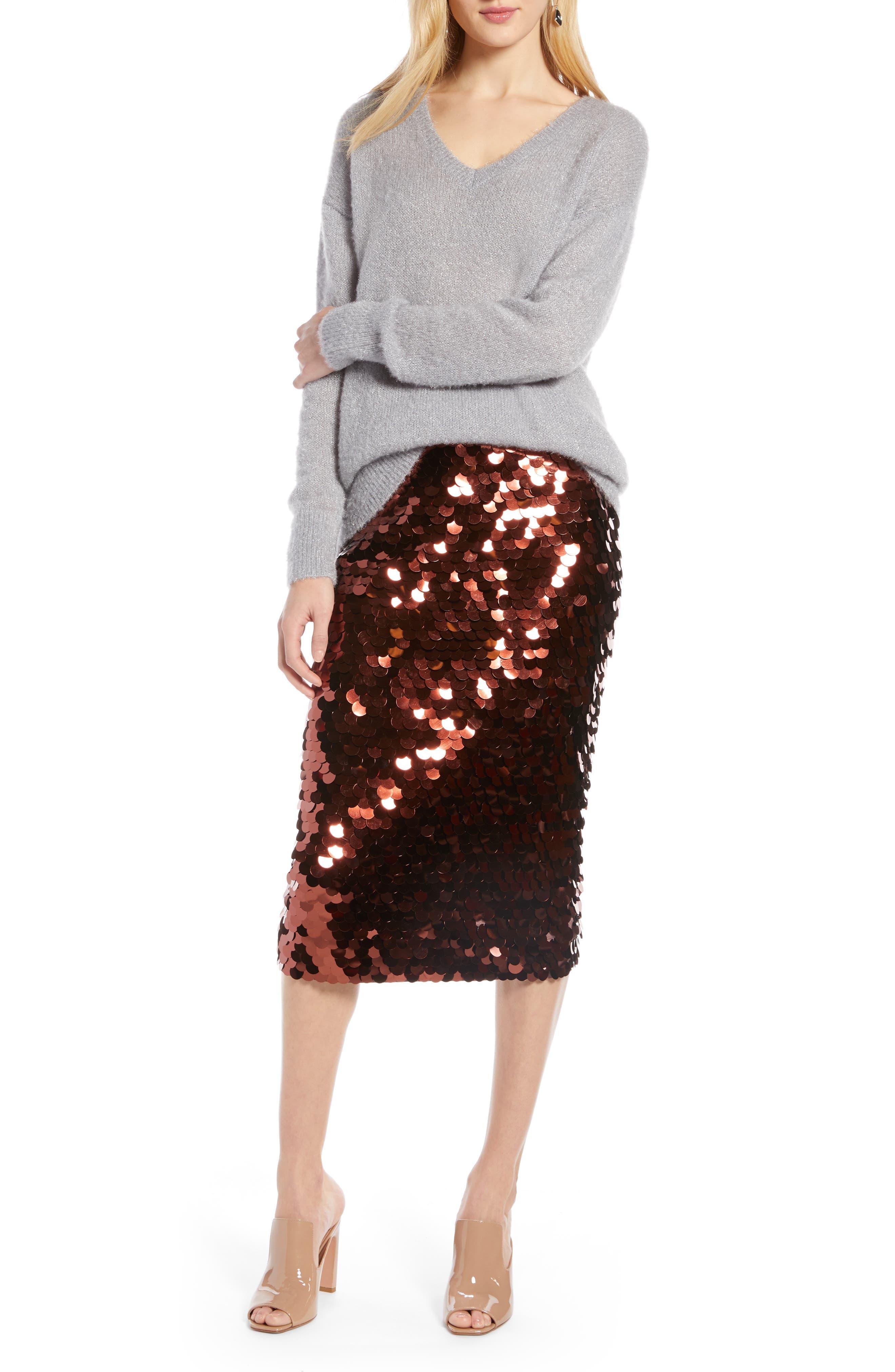 Paillette Pencil Skirt,                             Alternate thumbnail 7, color,                             510