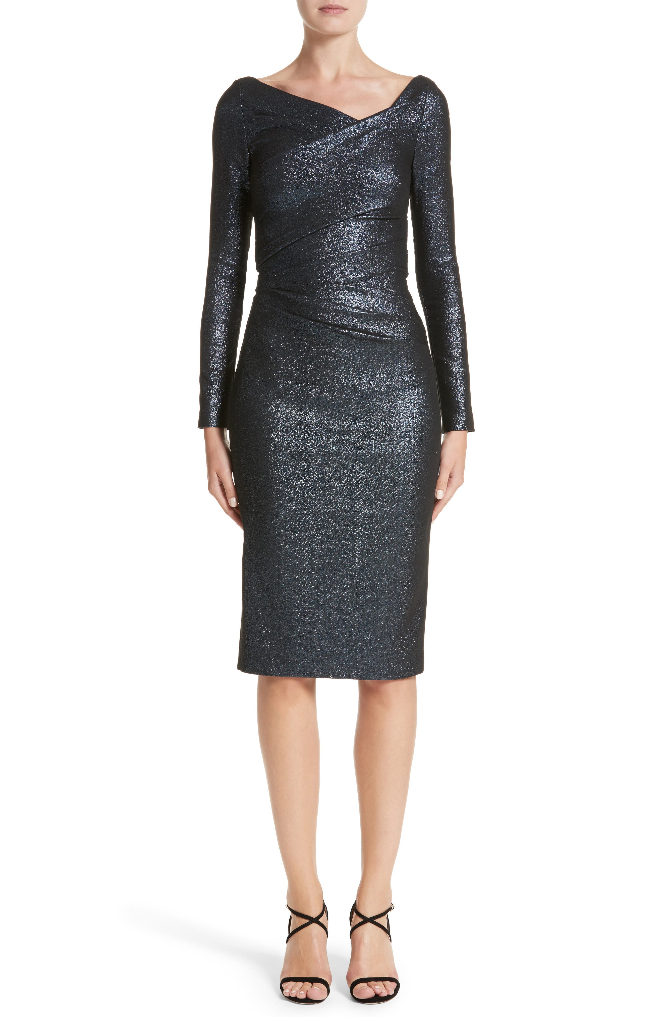 Metallic Asymmetrical Pleat Cocktail Dress,                         Main,                         color, NAUTICAL BLUE