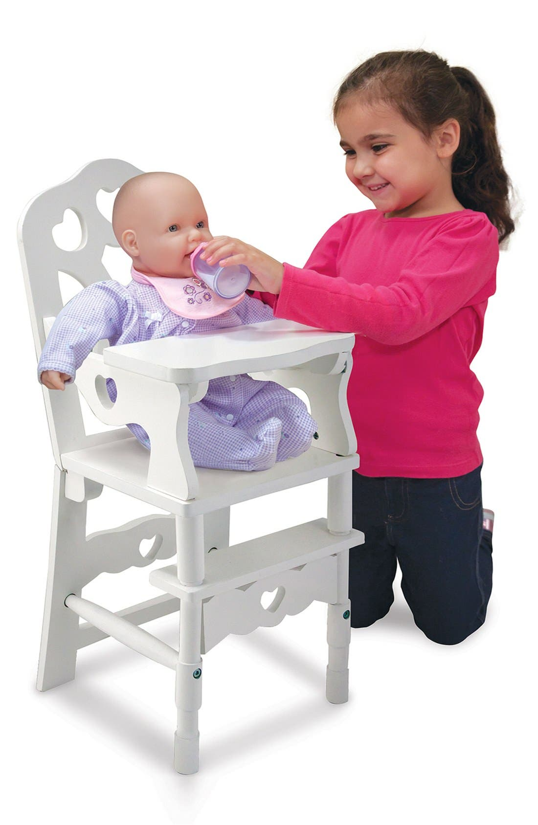 Wooden Doll Highchair,                         Main,                         color, WHITE