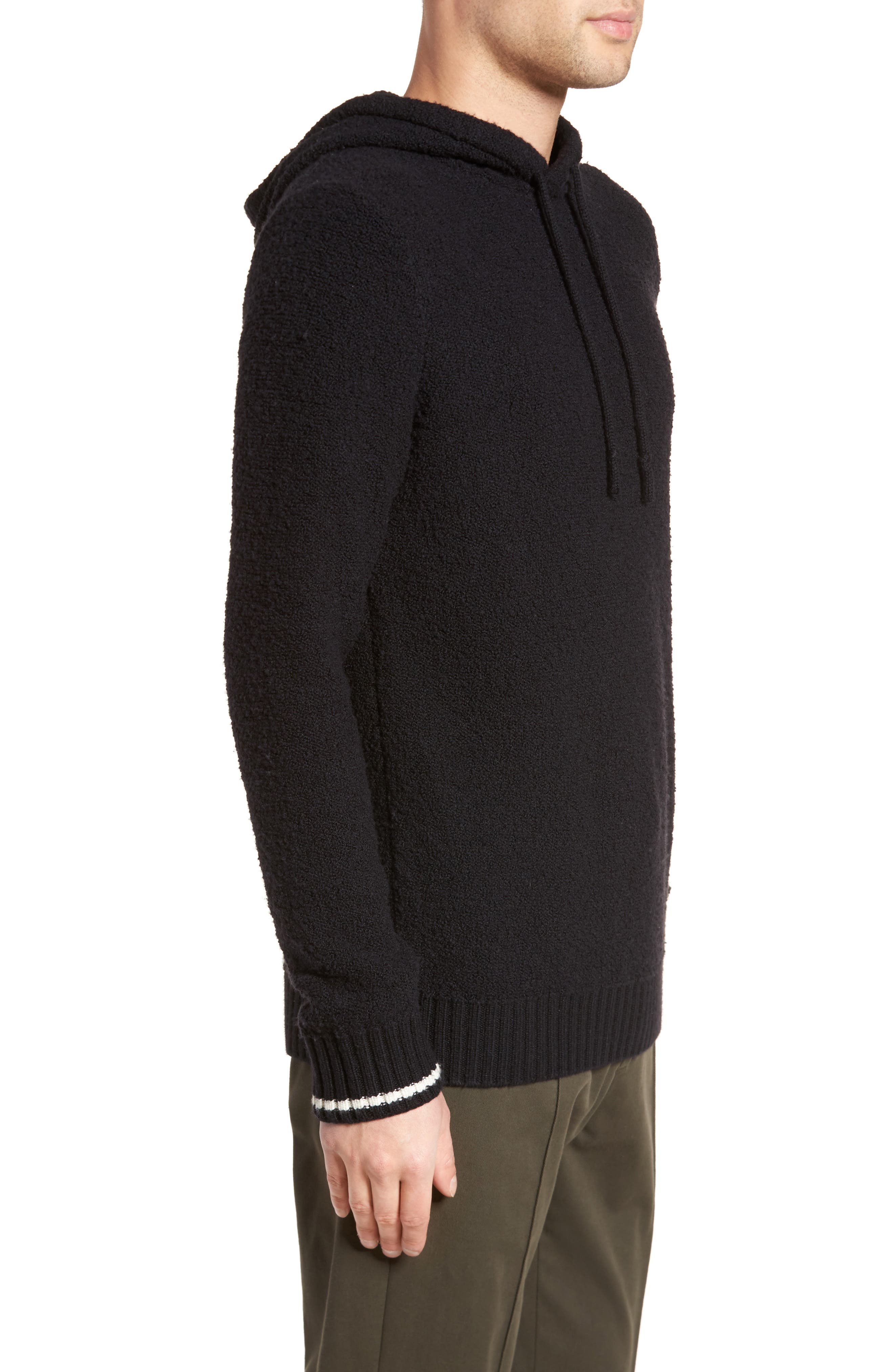Wool Fleece Pullover Hoodie,                             Alternate thumbnail 3, color,                             BLACK