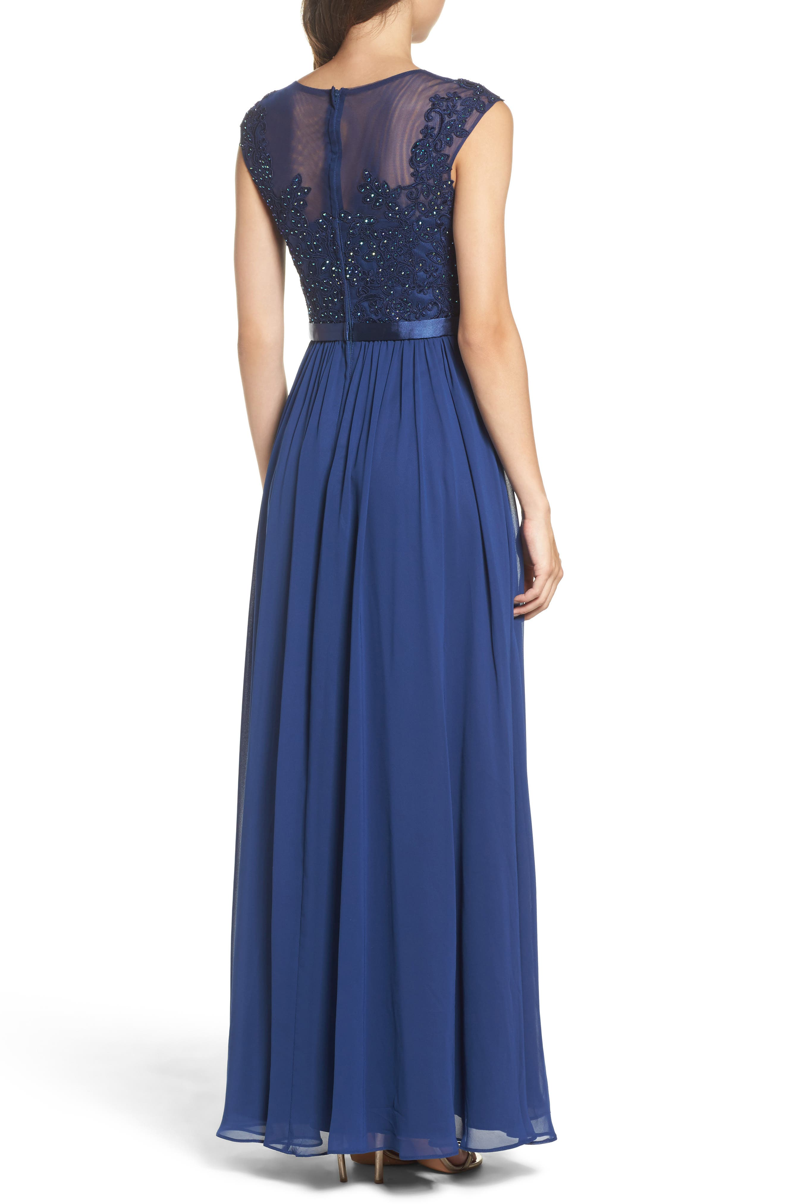 Xcape Embellished Bodice Mesh A-Line Gown,                             Alternate thumbnail 2, color,
