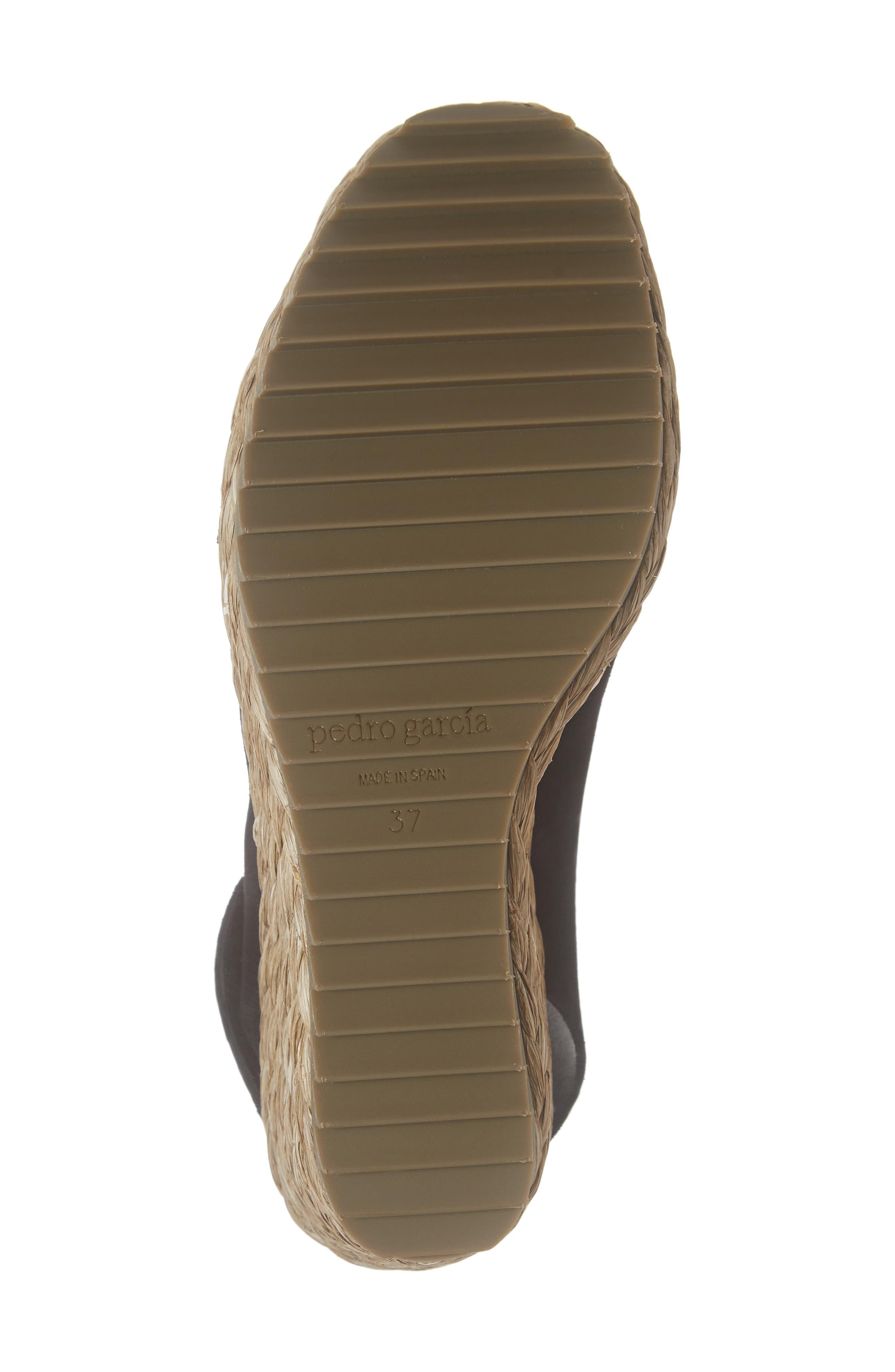 'Federica' Wedge Sandal,                             Alternate thumbnail 6, color,                             BLACK CASTORO/ RAFFIA
