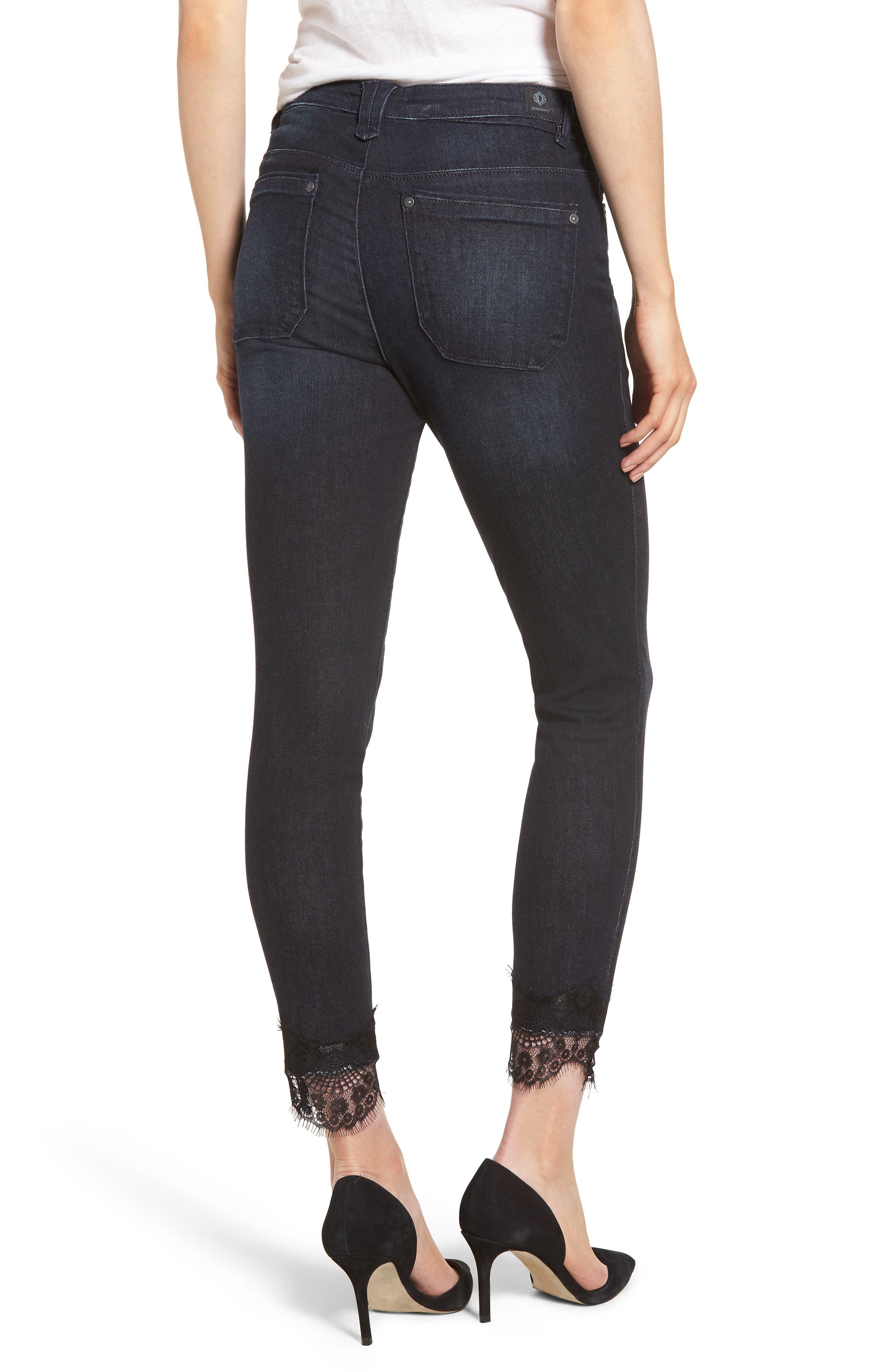 WIT & WISDOM,                             High Waist Eyelash Lace Ankle Skimmer Jeans,                             Alternate thumbnail 2, color,                             402