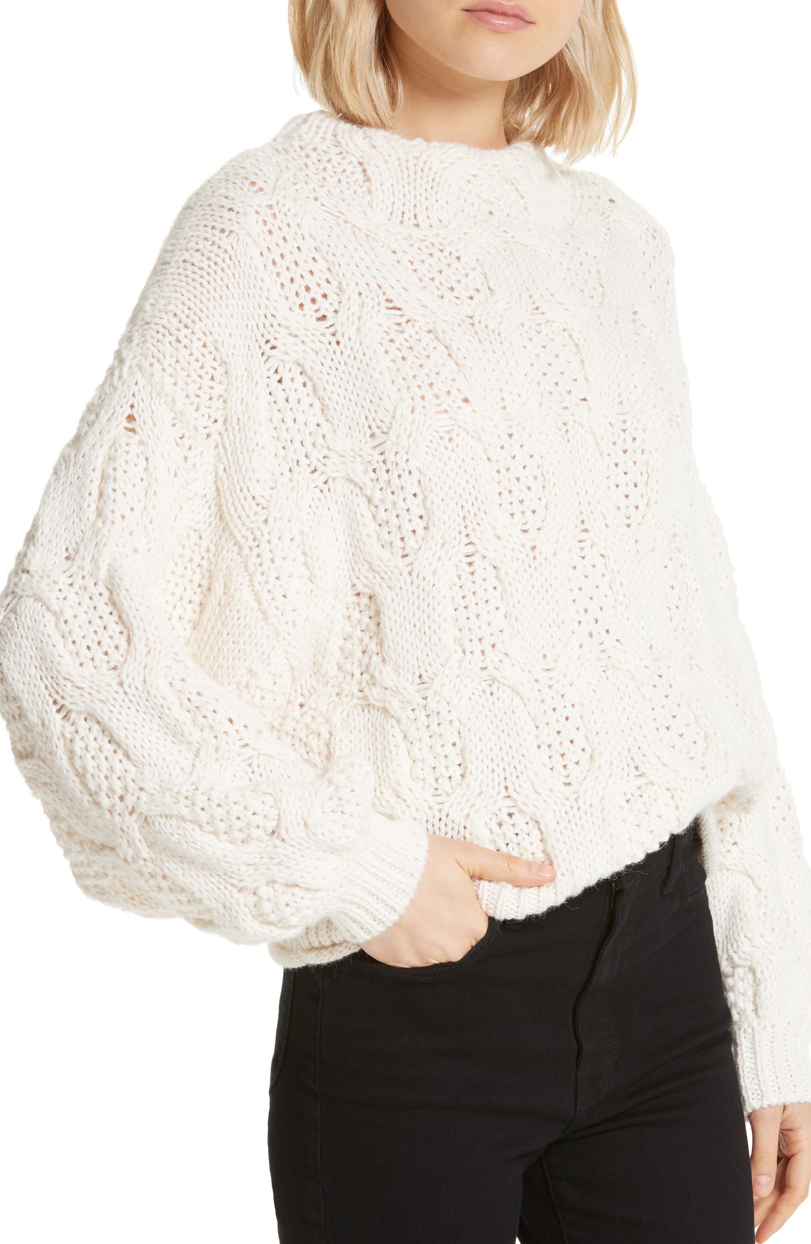 JOIE,                             Cable Knit Alpaca Wool Blend Sweater,                             Alternate thumbnail 4, color,                             900