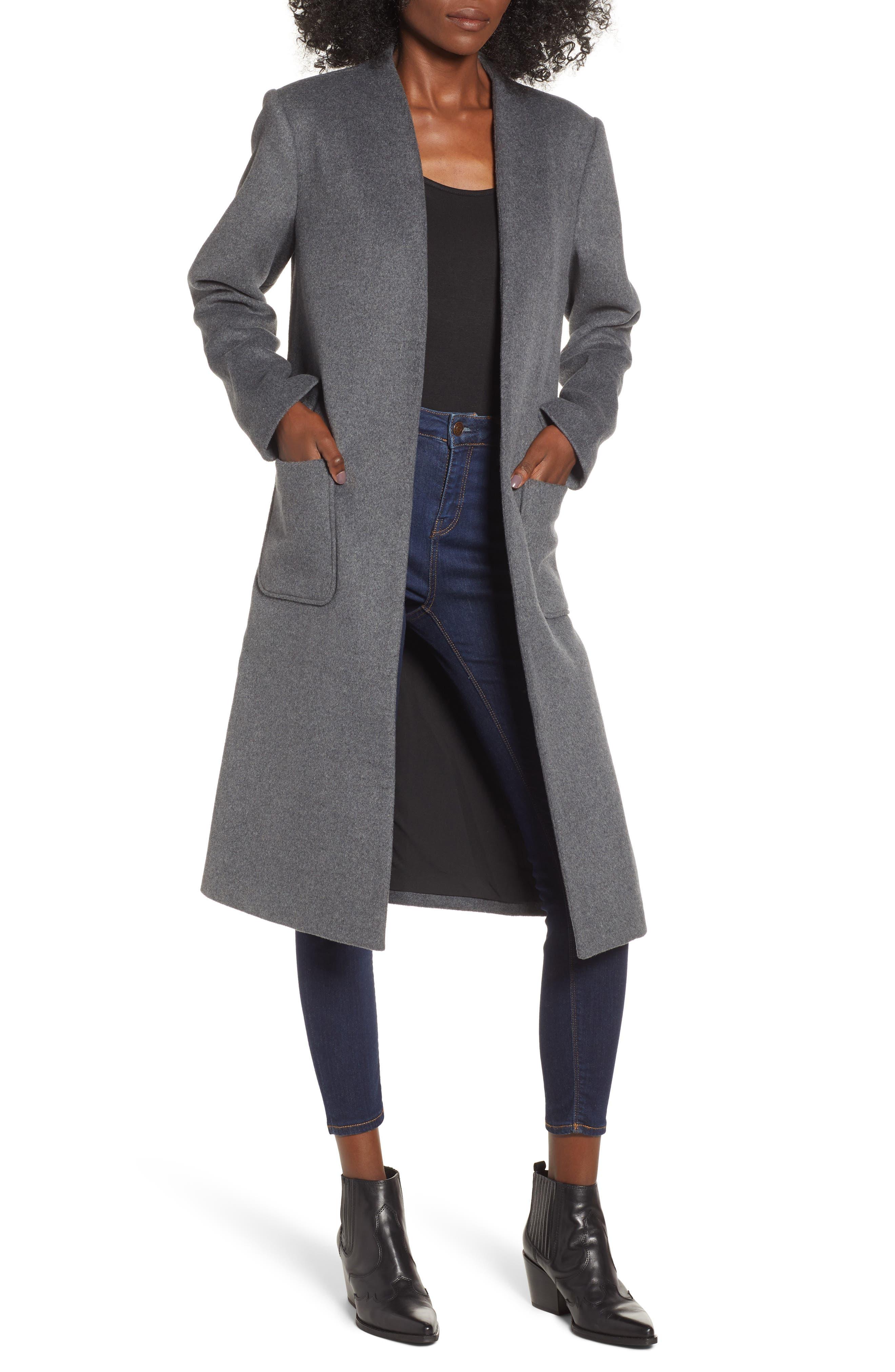 Long Open Front Coat,                             Main thumbnail 1, color,                             CHARCOAL GREY