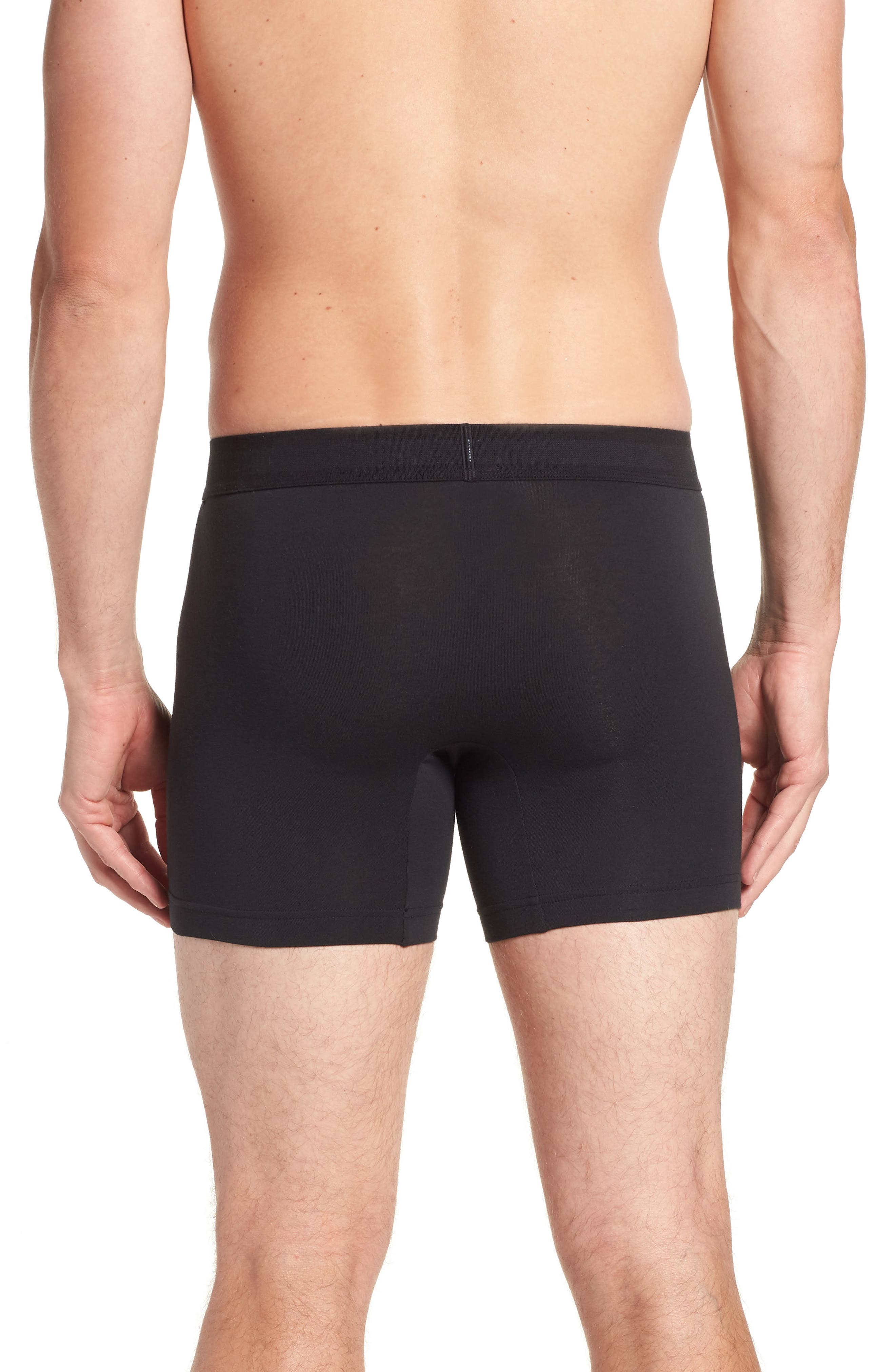 Cotton Boxer Briefs,                             Alternate thumbnail 2, color,                             BLACK W/ WHITE PATCH
