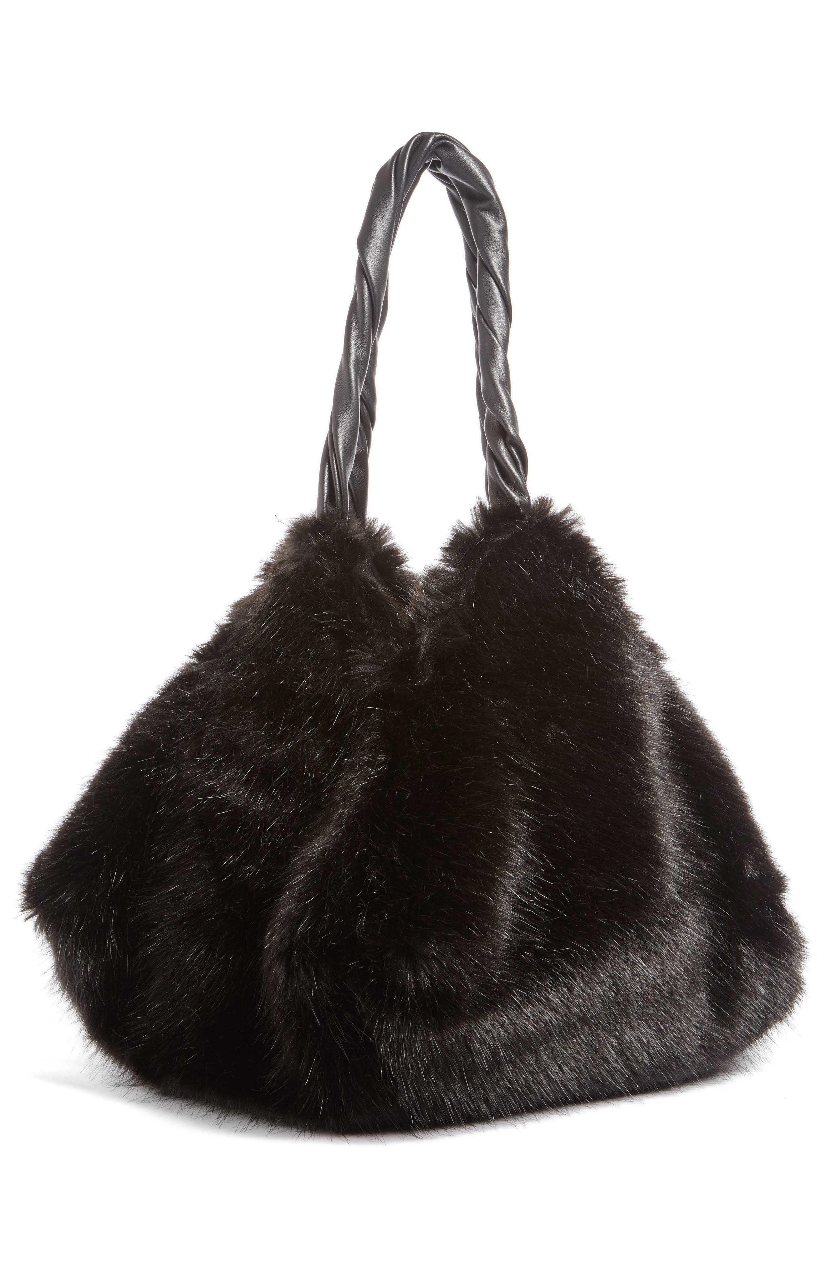 Pyramid Faux Fur Shoulder Bag,                             Alternate thumbnail 2, color,                             001