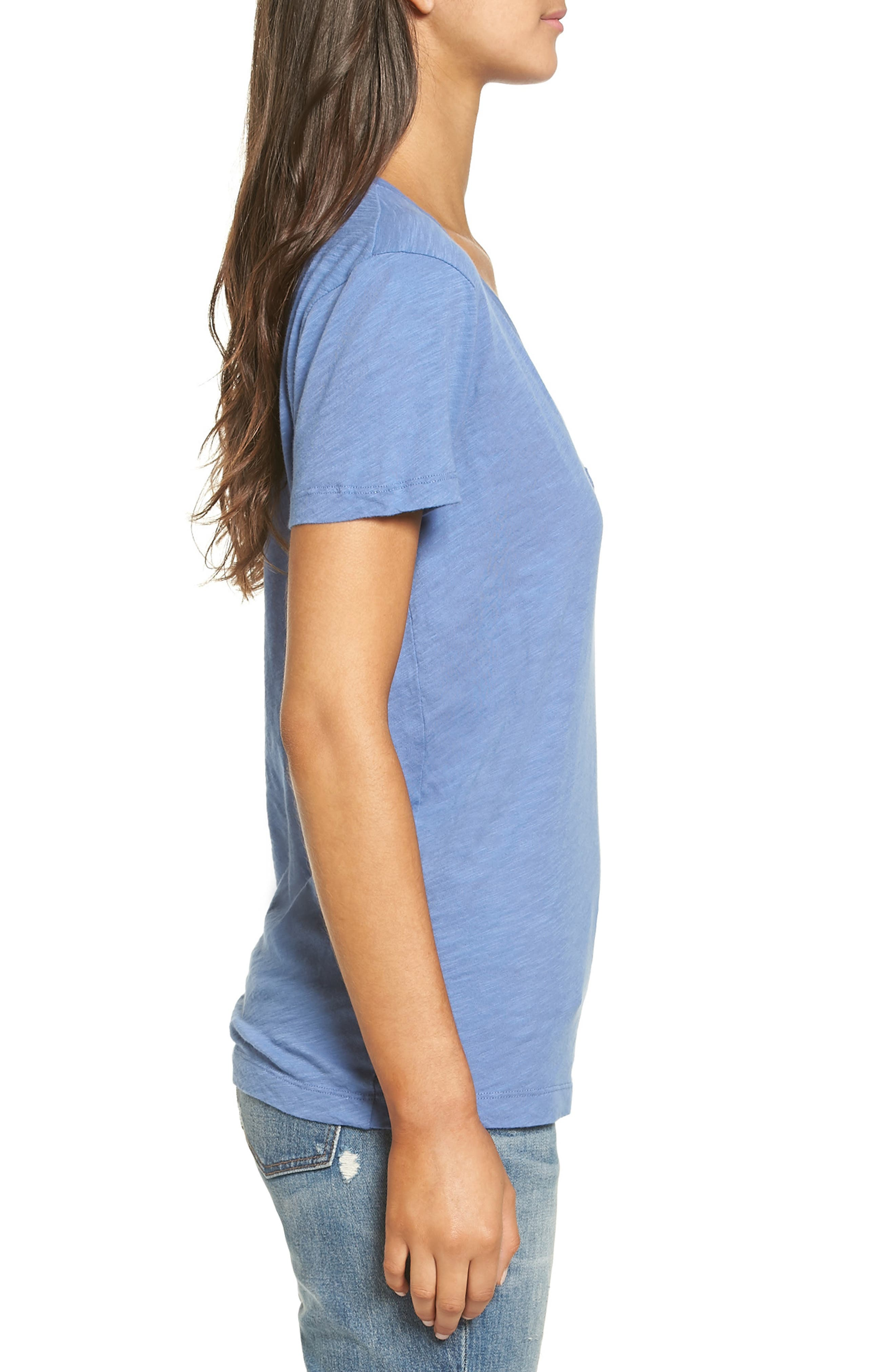 Whisper Cotton V-Neck Pocket Tee,                             Alternate thumbnail 110, color,
