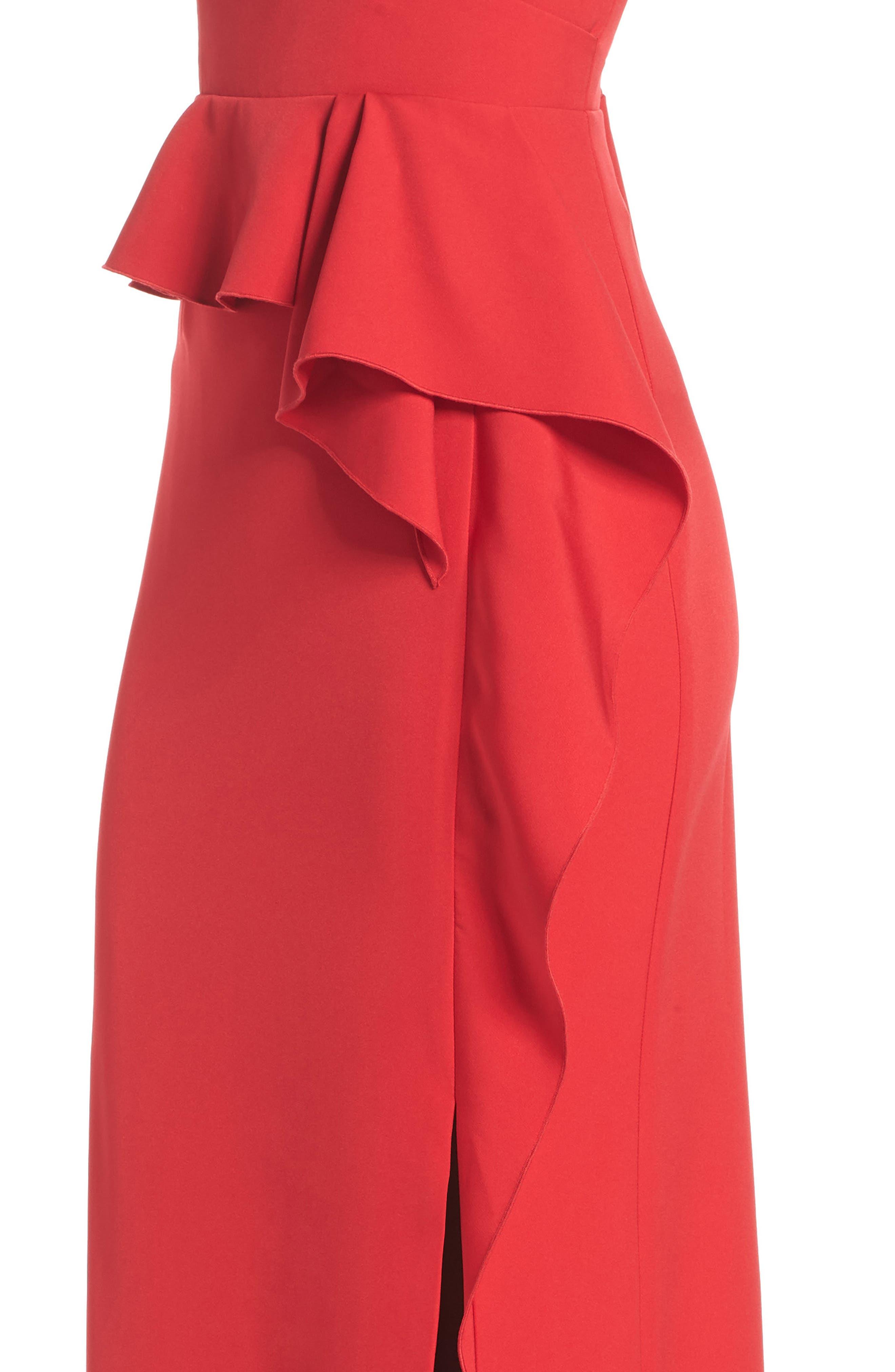 Laguna Faux Wrap Gown,                             Alternate thumbnail 4, color,                             RED