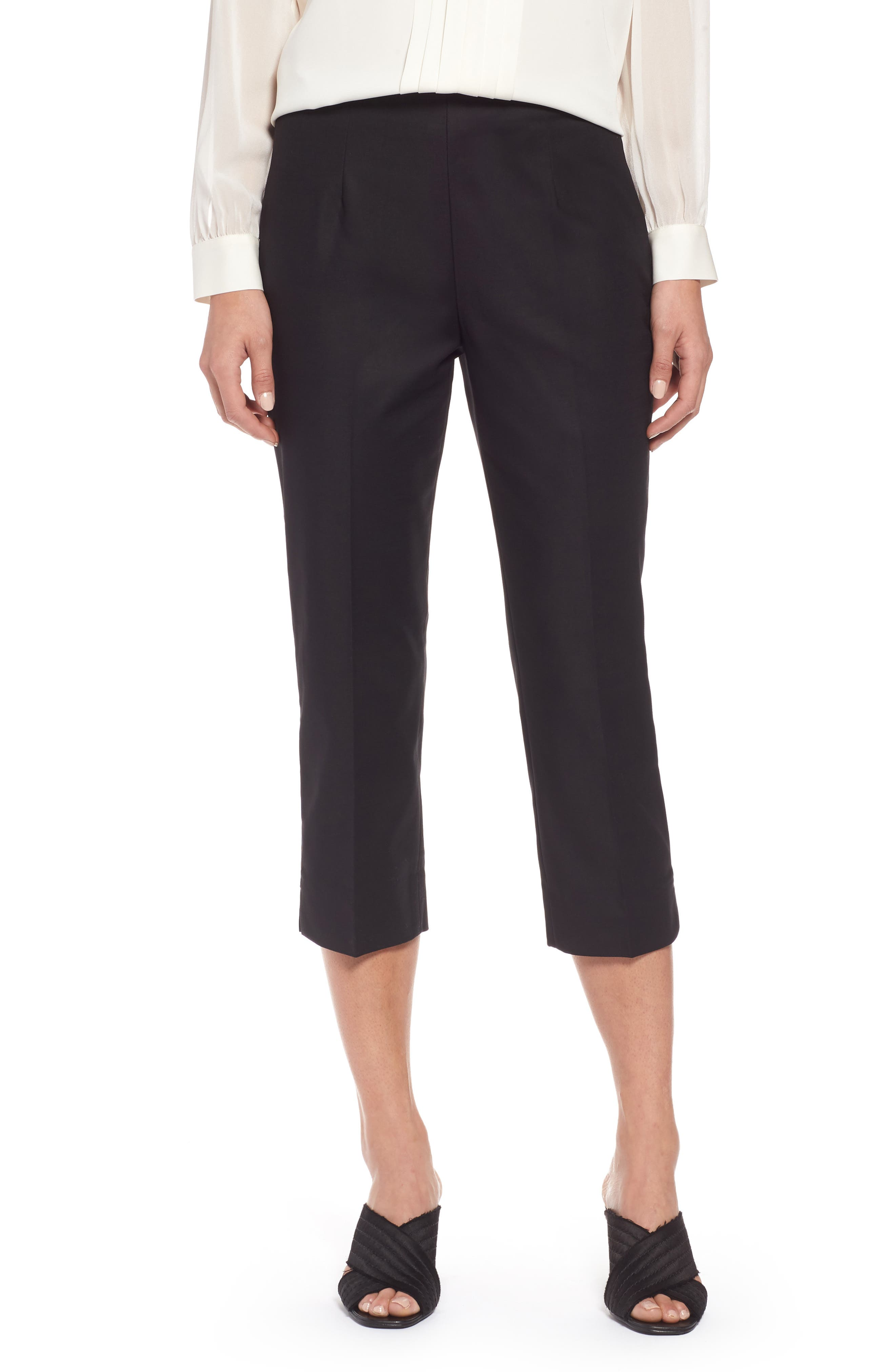 NIC+ZOE Perfect Side Zip Crop Pants, Main, color, BLACK ONYX