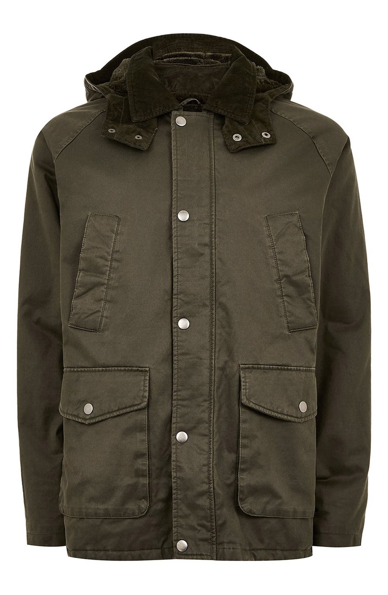 Cotton Blend Parka,                             Alternate thumbnail 6, color,                             OLIVE