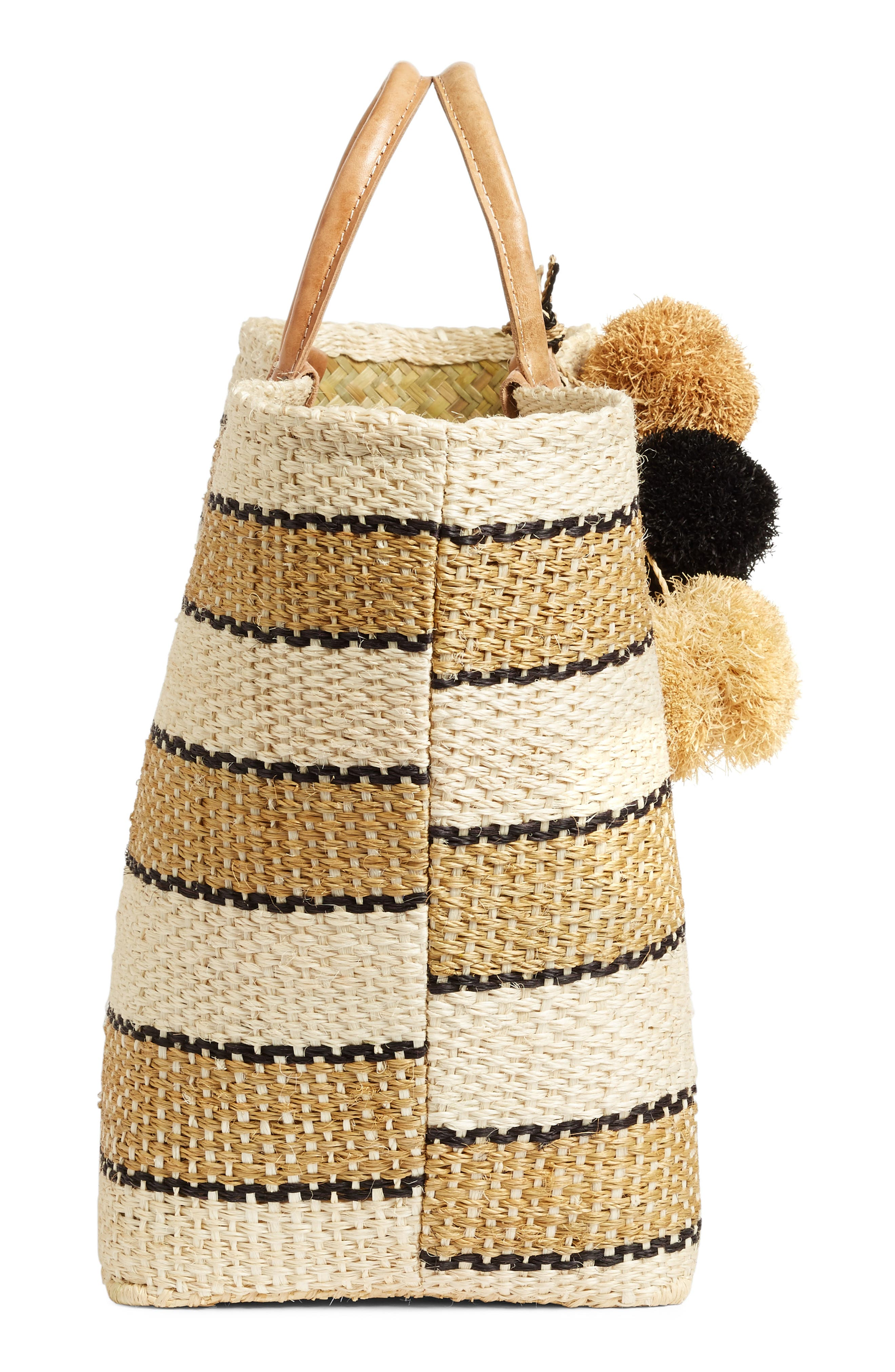 'Capri' Woven Tote with Pom Charms,                             Alternate thumbnail 5, color,                             200