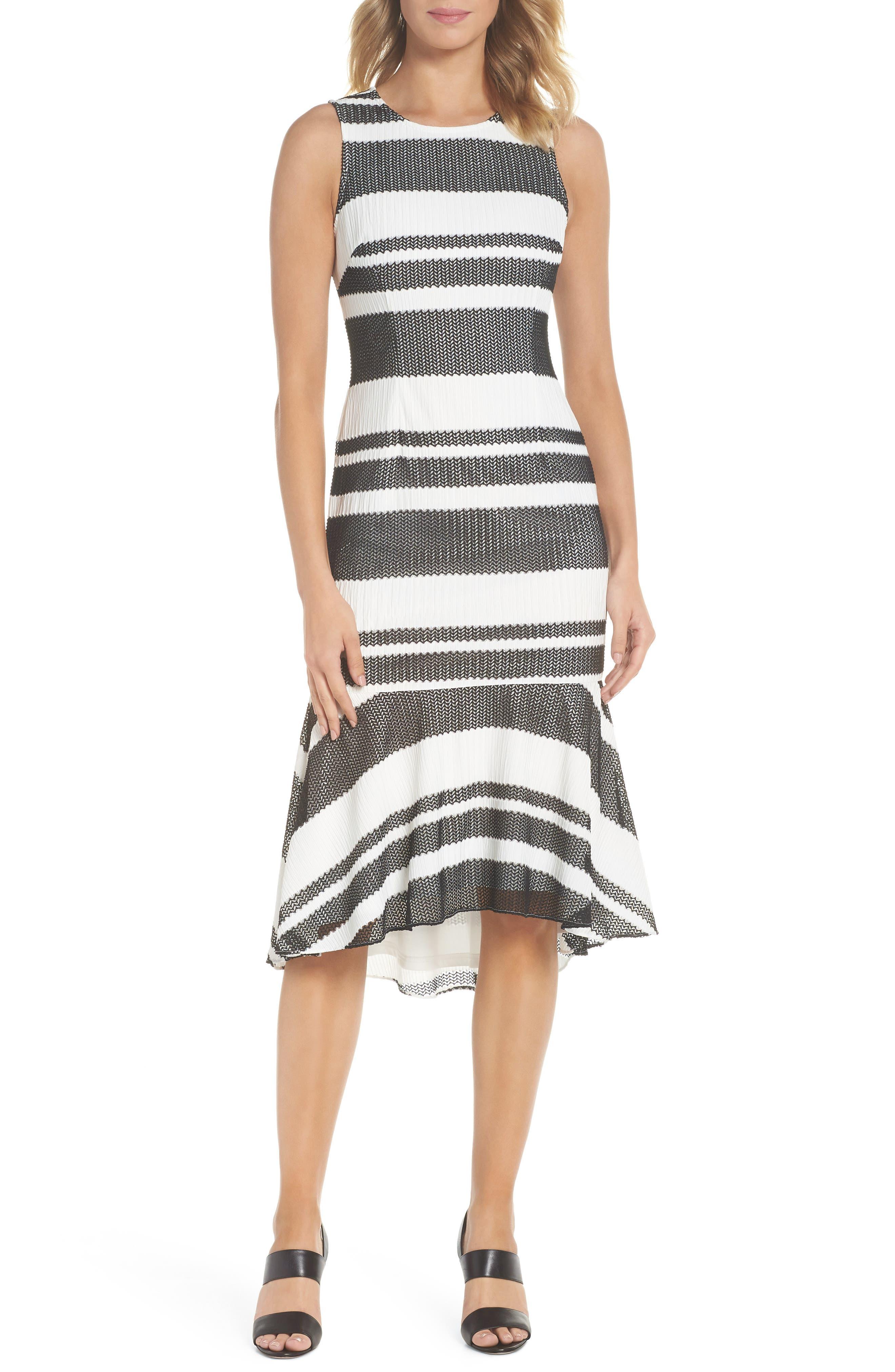 ADRIANNA PAPELL Sleeveless Stripe Trumpet Sheath Dress, Main, color, 004