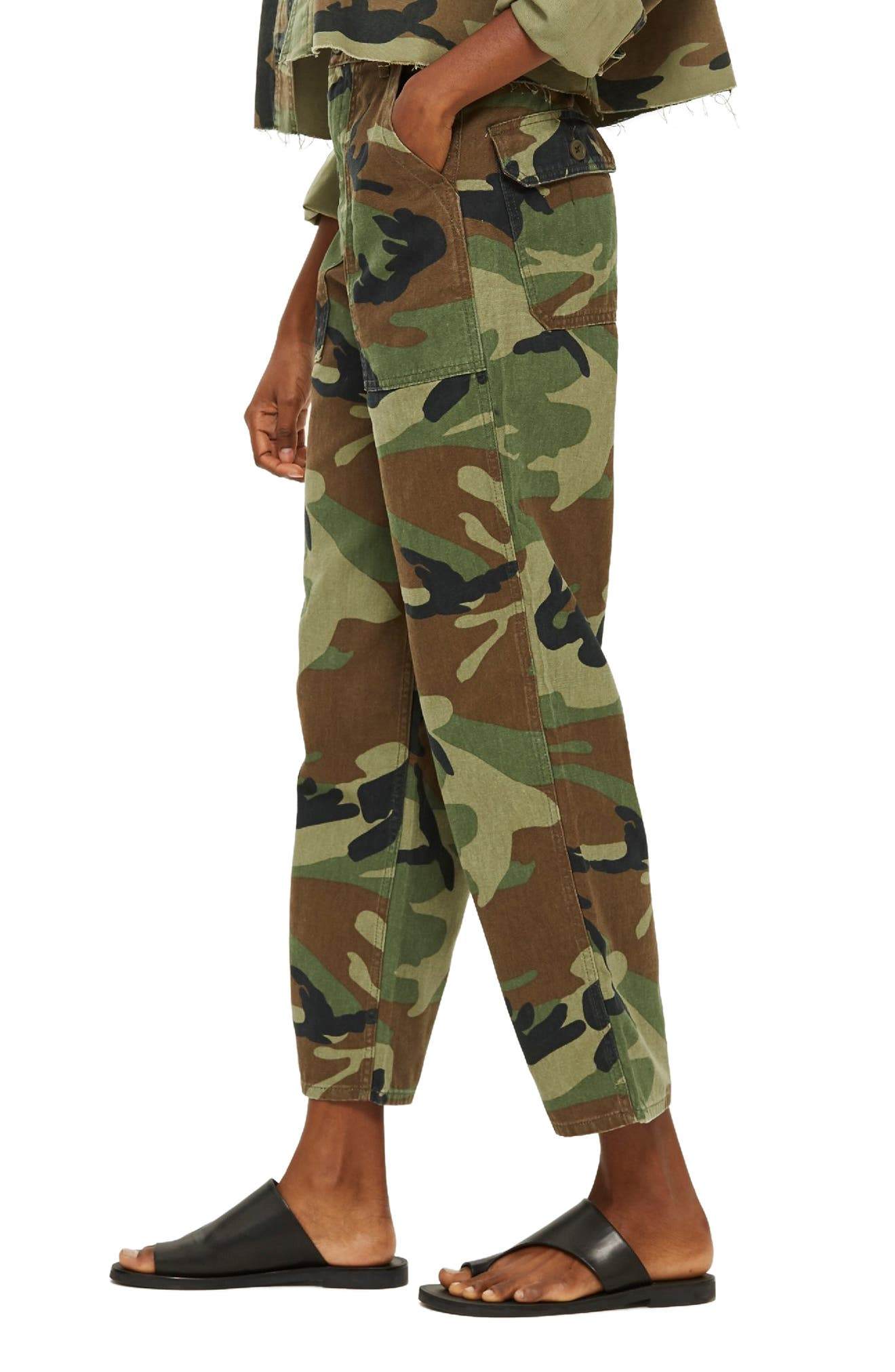 Benny Camo Crop Cotton Trousers,                             Alternate thumbnail 3, color,                             300